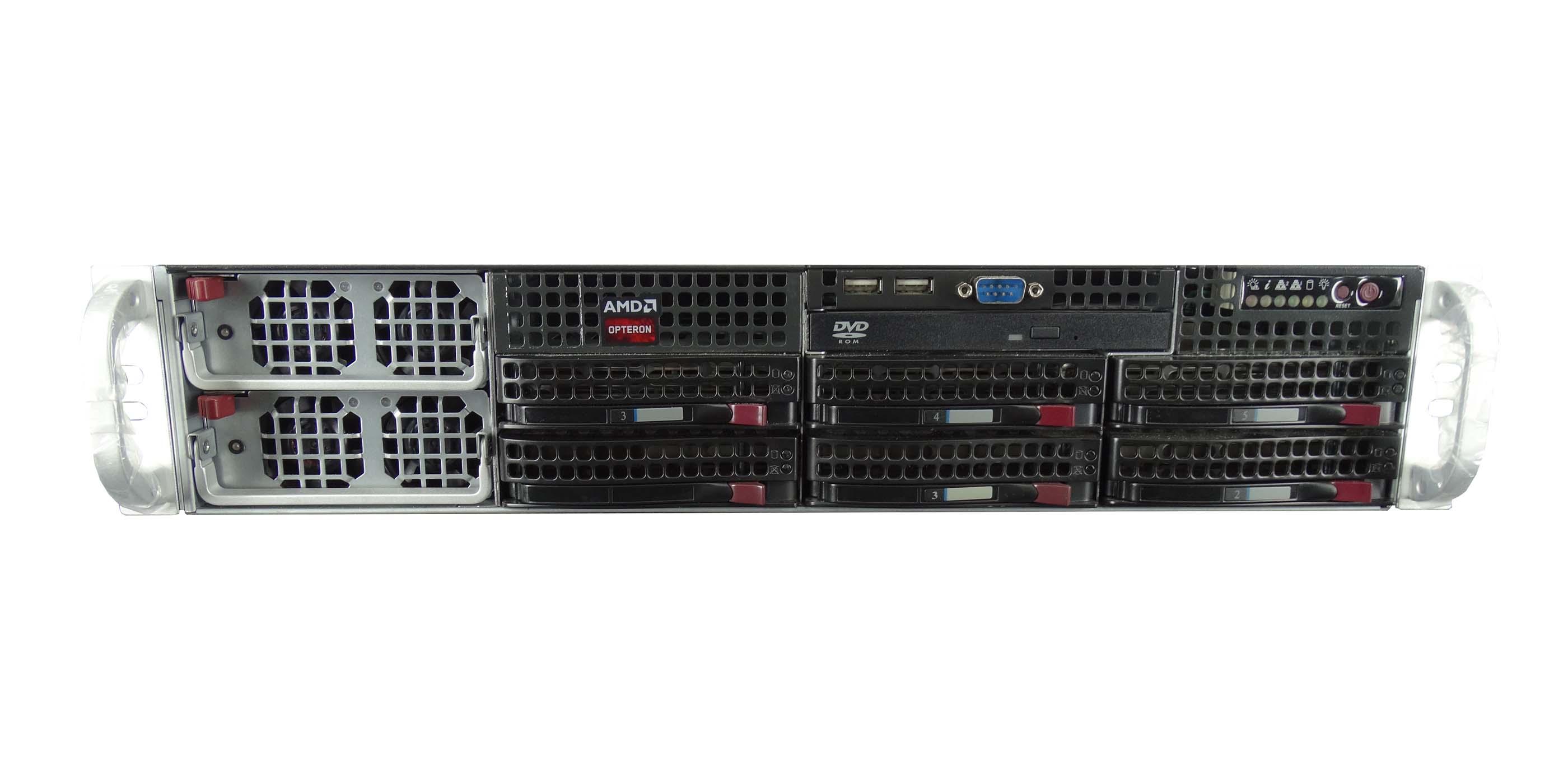 Supermicro-828TQ-R1K43LPB-W-H8QG6-F-4x-AMD-6128-48GB-6x-Trays-Rails