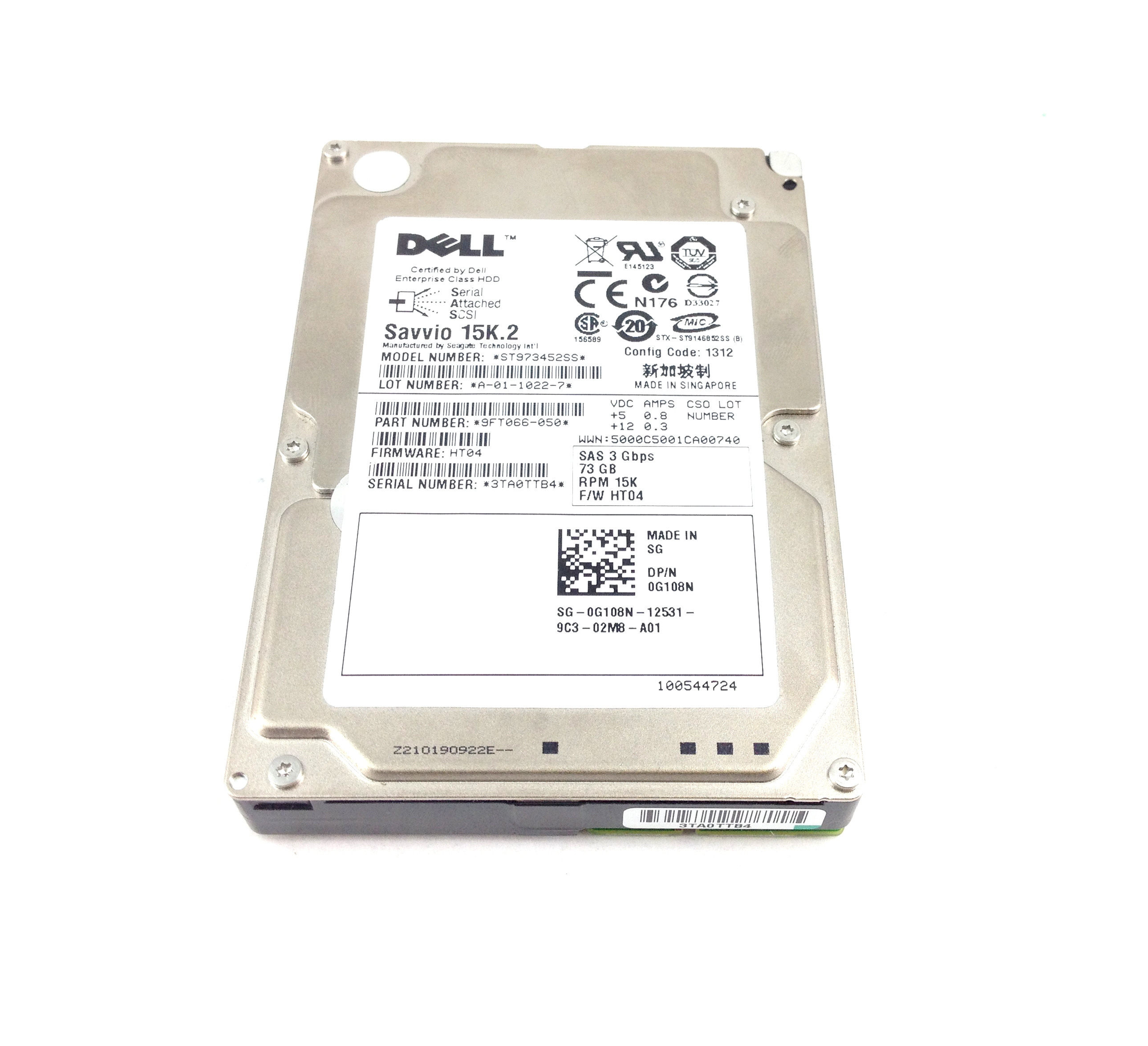 DELL 73GB 15K 6GBPS SAS  2.5'' HARD DRIVE (G108N)
