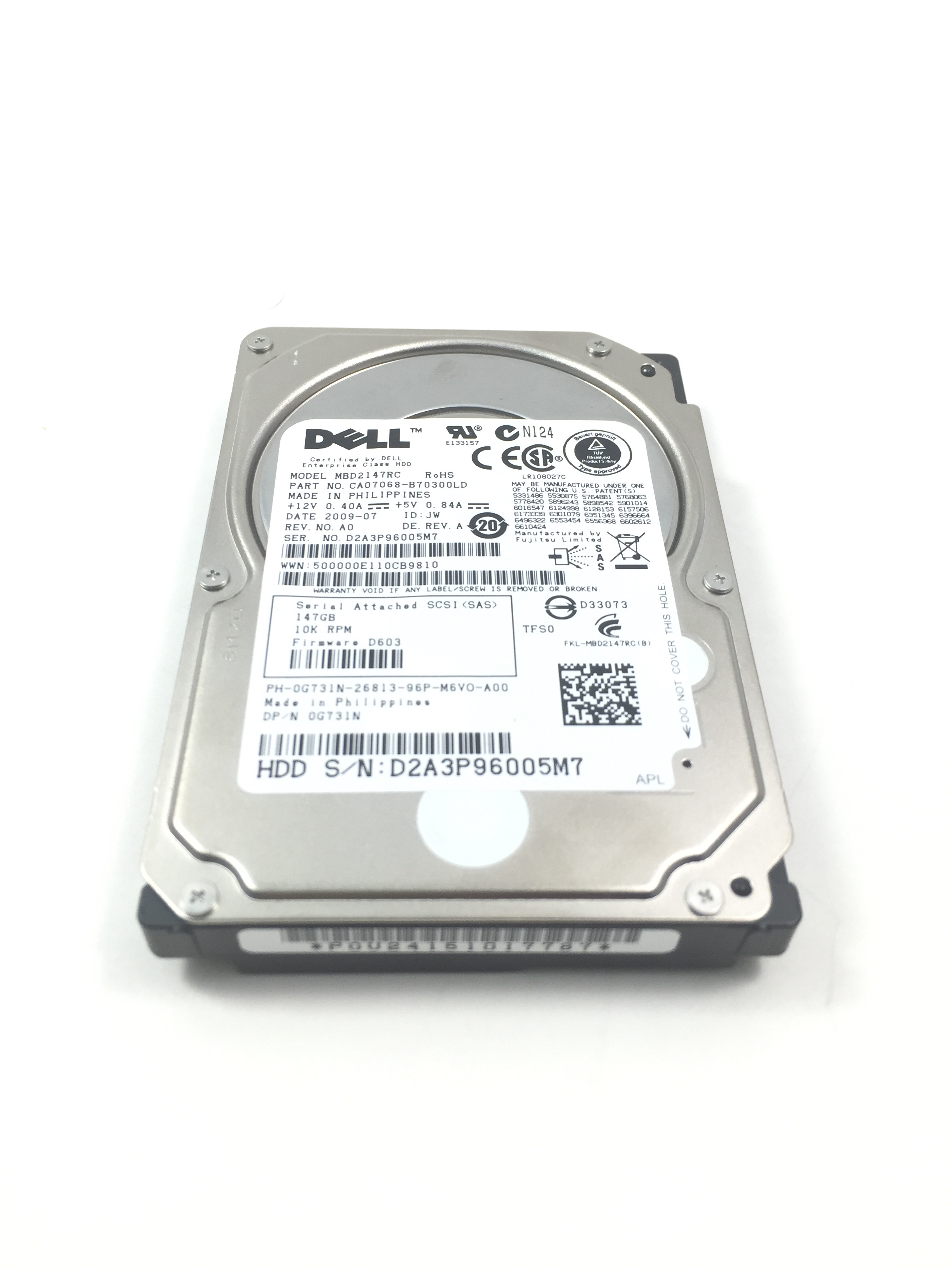 Dell 146GB 10K RPM 6Gbps SAS 2.5'' Hard Drive (G731N)