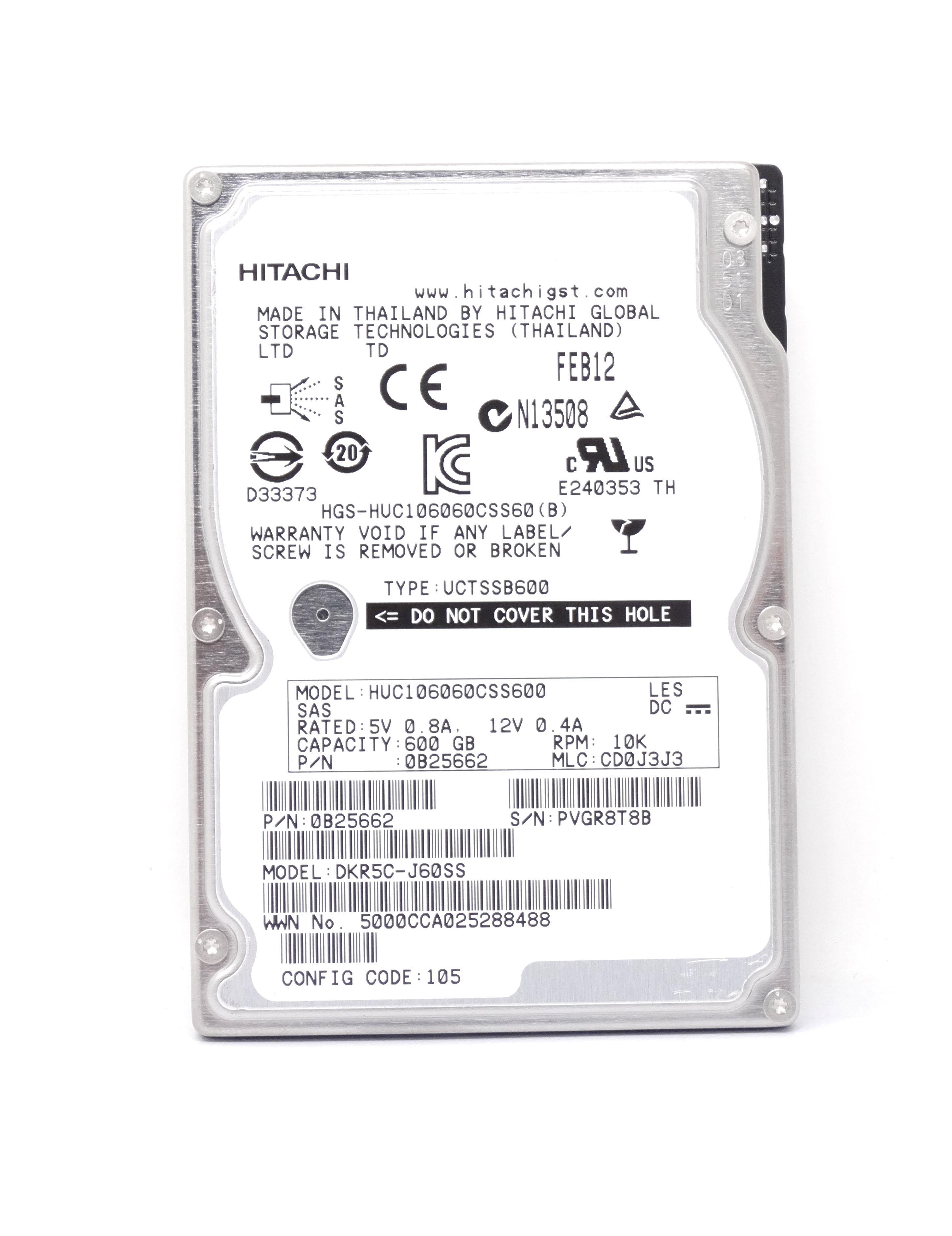 HITACHI 600GB 10K 6GBPS SAS 2.5'' HARD DRIVE (HUC106060CSS600)