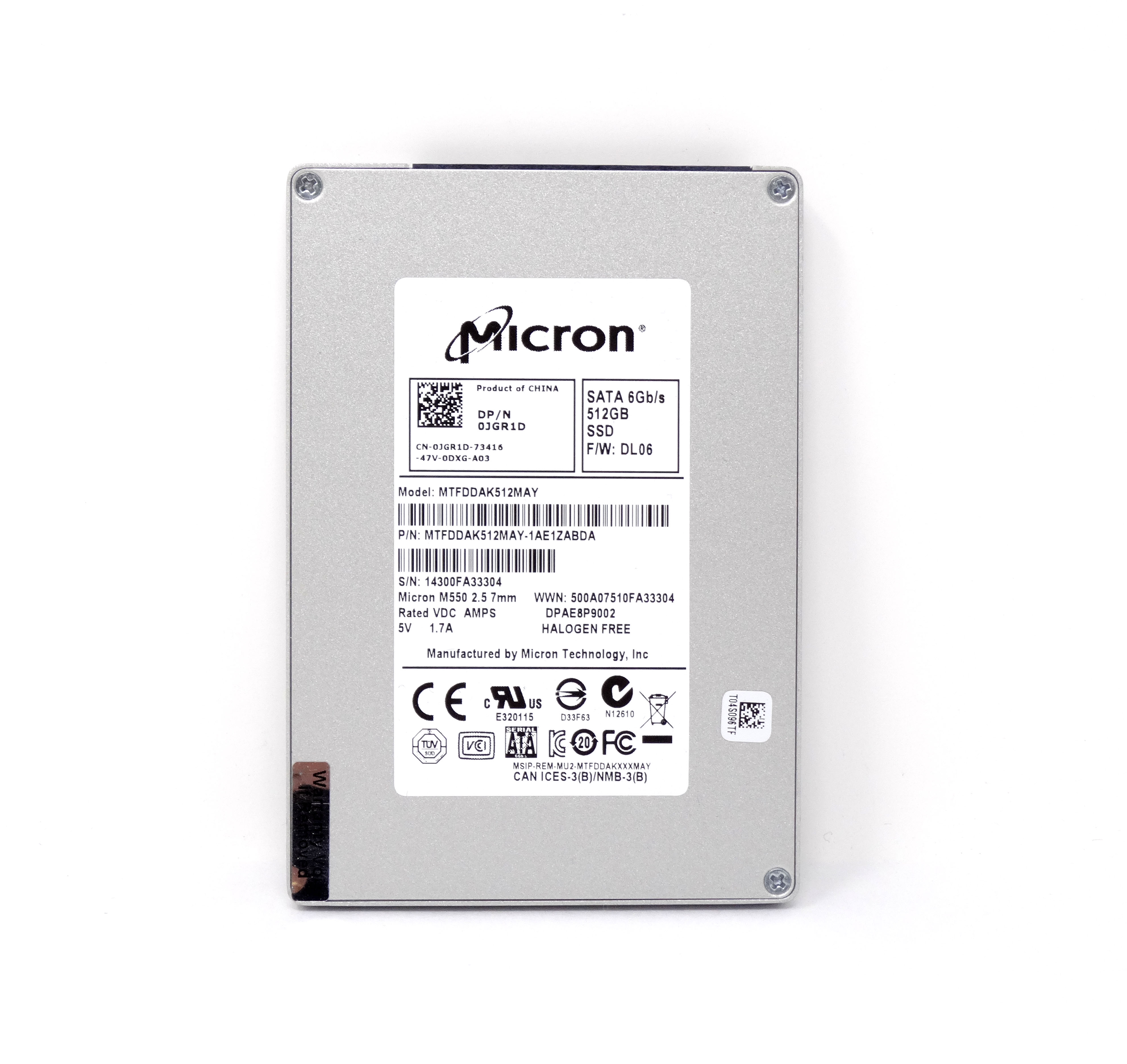 Dell Micron M550 512Gb 6Gbps SATA 2.5'' SSD Solid State Drive (JGR1D)