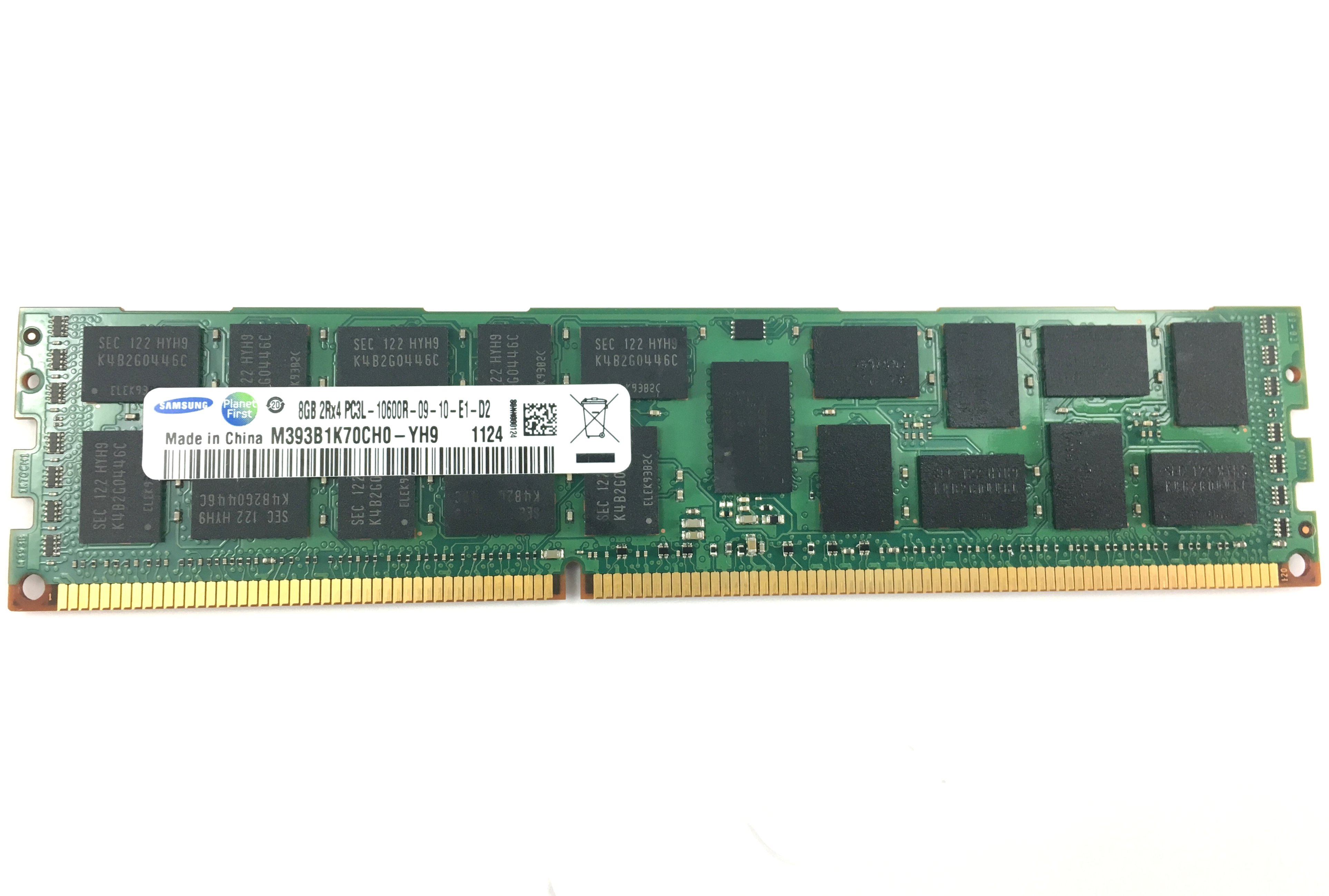 SAMSUNG 8GB 2Rx4 PC3L-10600R DDR3 1333MHZ ECC REG MEMORY (M393B1K70CH0-YH9)
