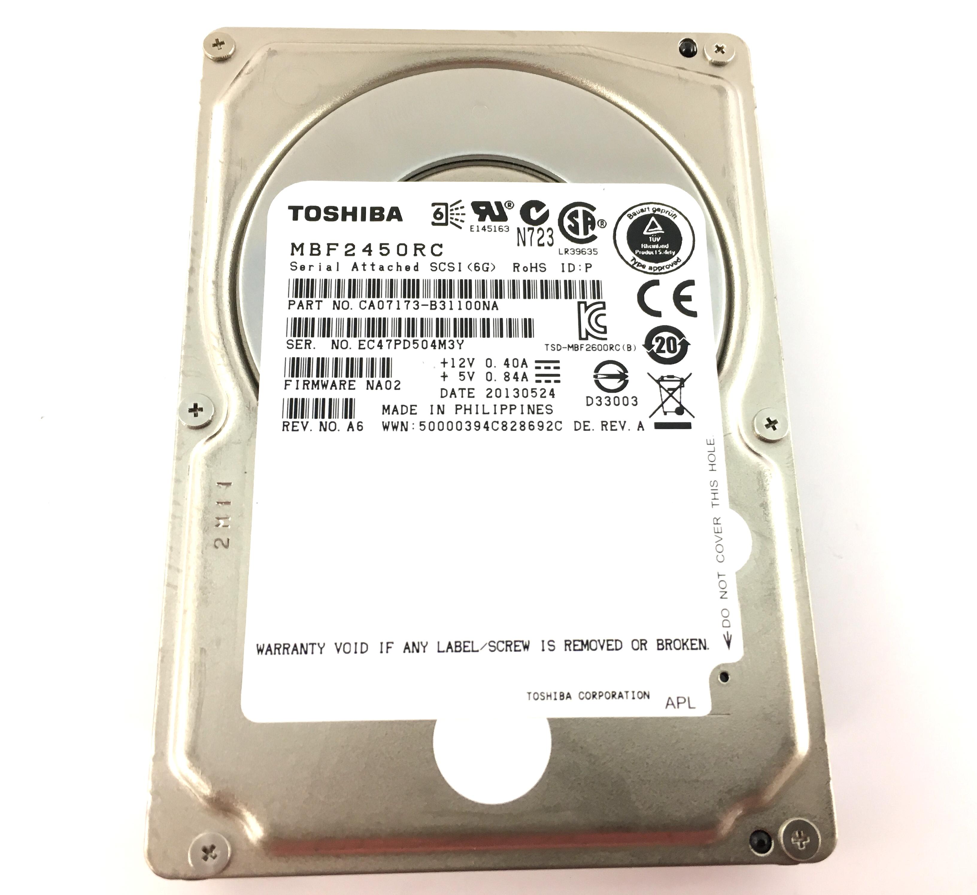 Toshiba 450GB 10K 6Gbps SAS 2.5'' Hard Drive W/ NETAPP FIRMWARE (MBF2450RC)