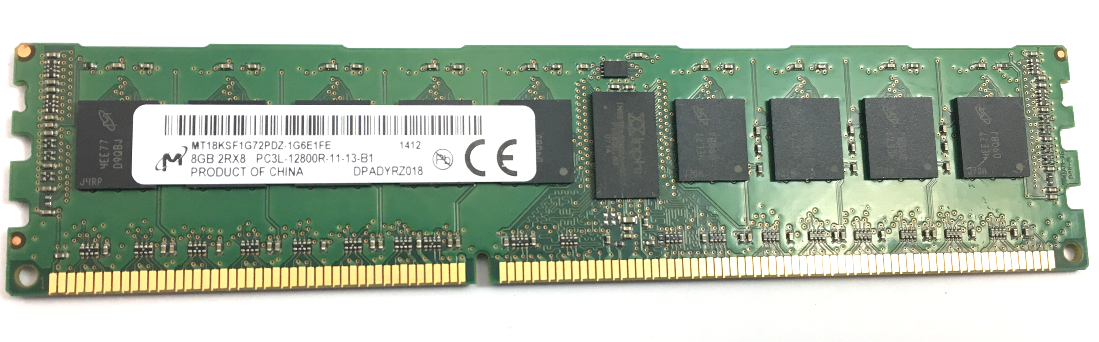 MICRON 8GB 2RX8 PC3L 12800R DDR3 1600MHZ ECC REG MEMORY (MT18KSF1G72PDZ-1G6E1)