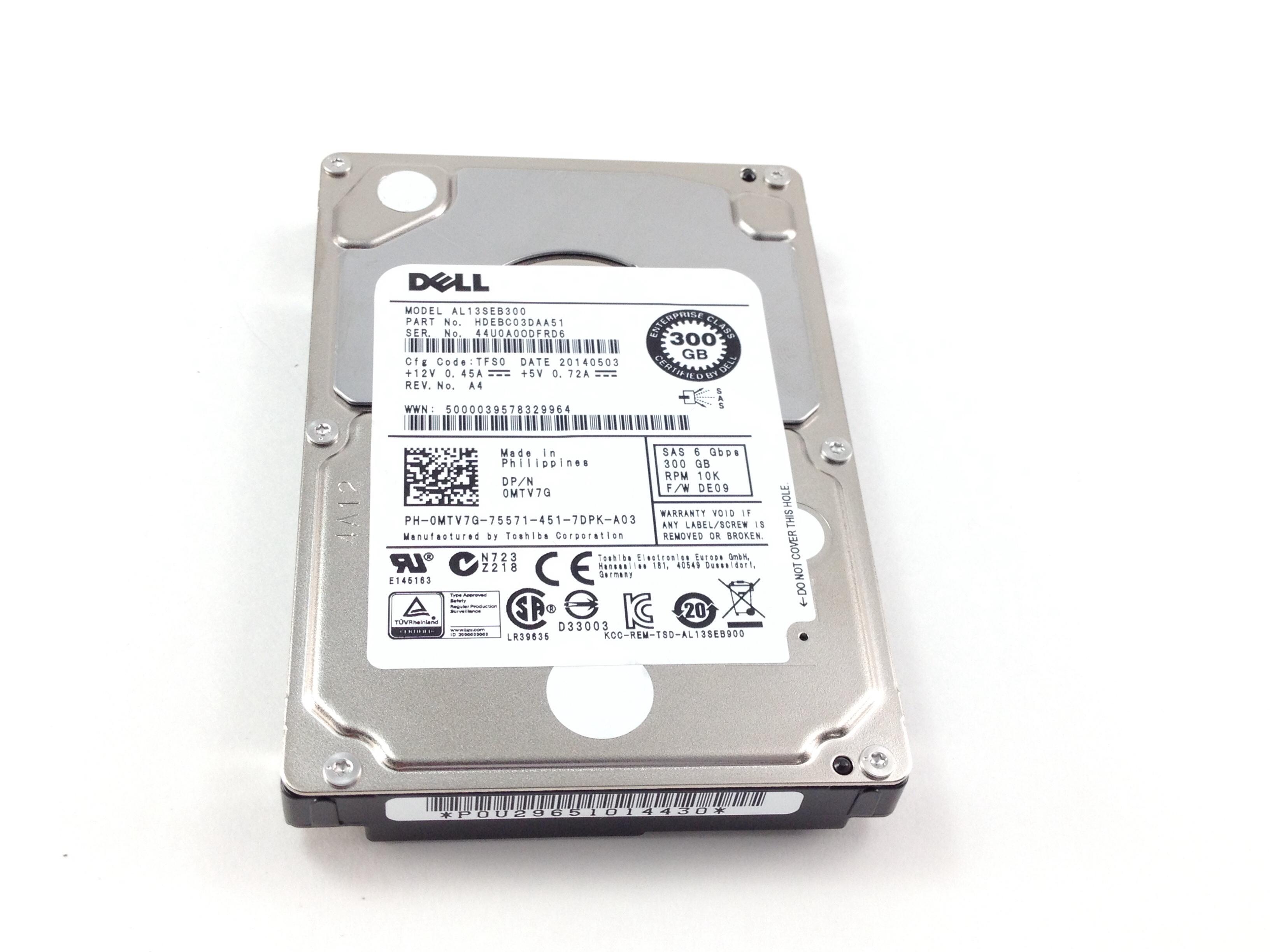 DELL 300GB 10K 6GBPS SAS 2.5'' HARD DRIVE (MTV7G)