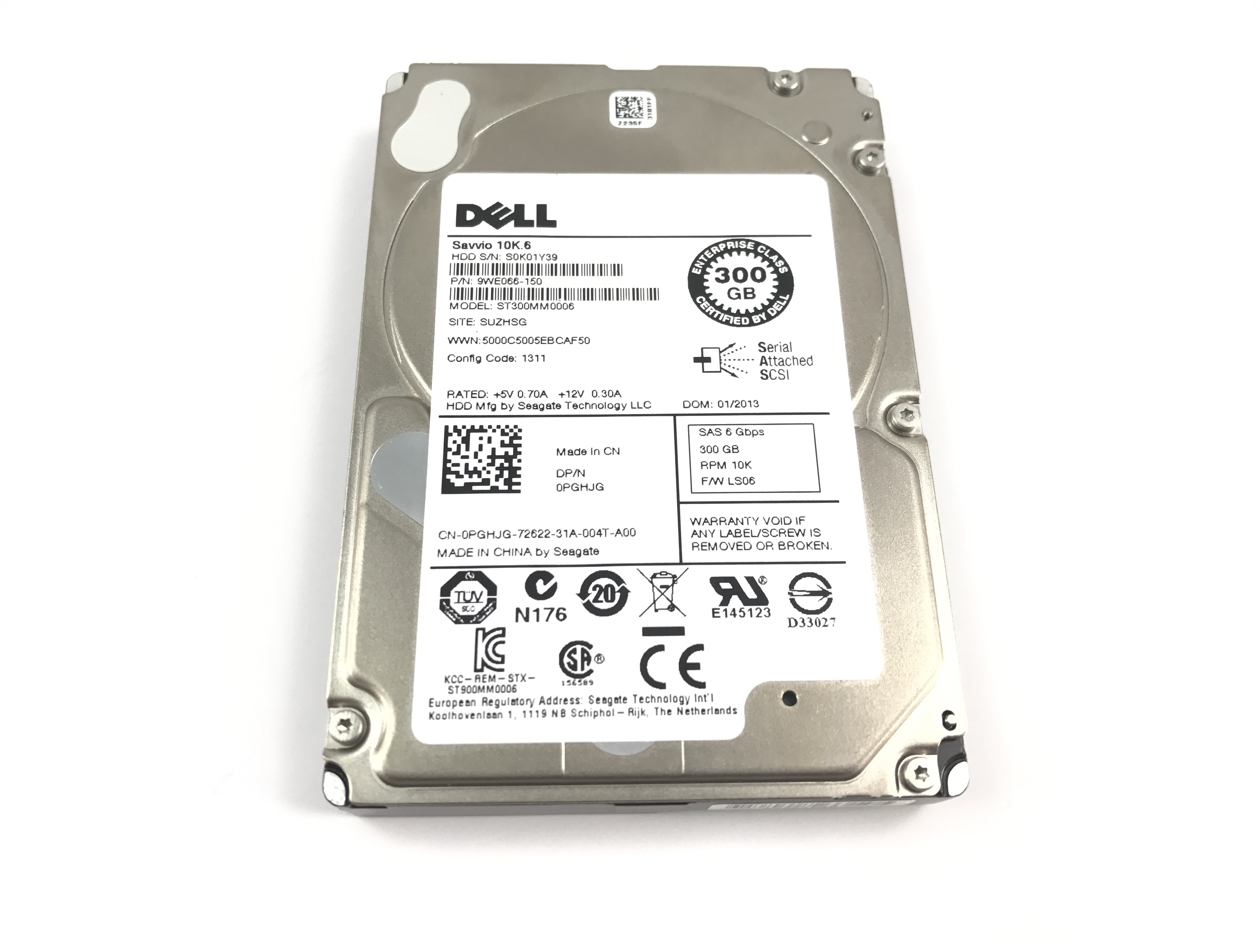 PGHJG DELL SEAGATE 300GB 10K 6GBPS SAS 2.5'' HARD DRIVE (PGHJG)