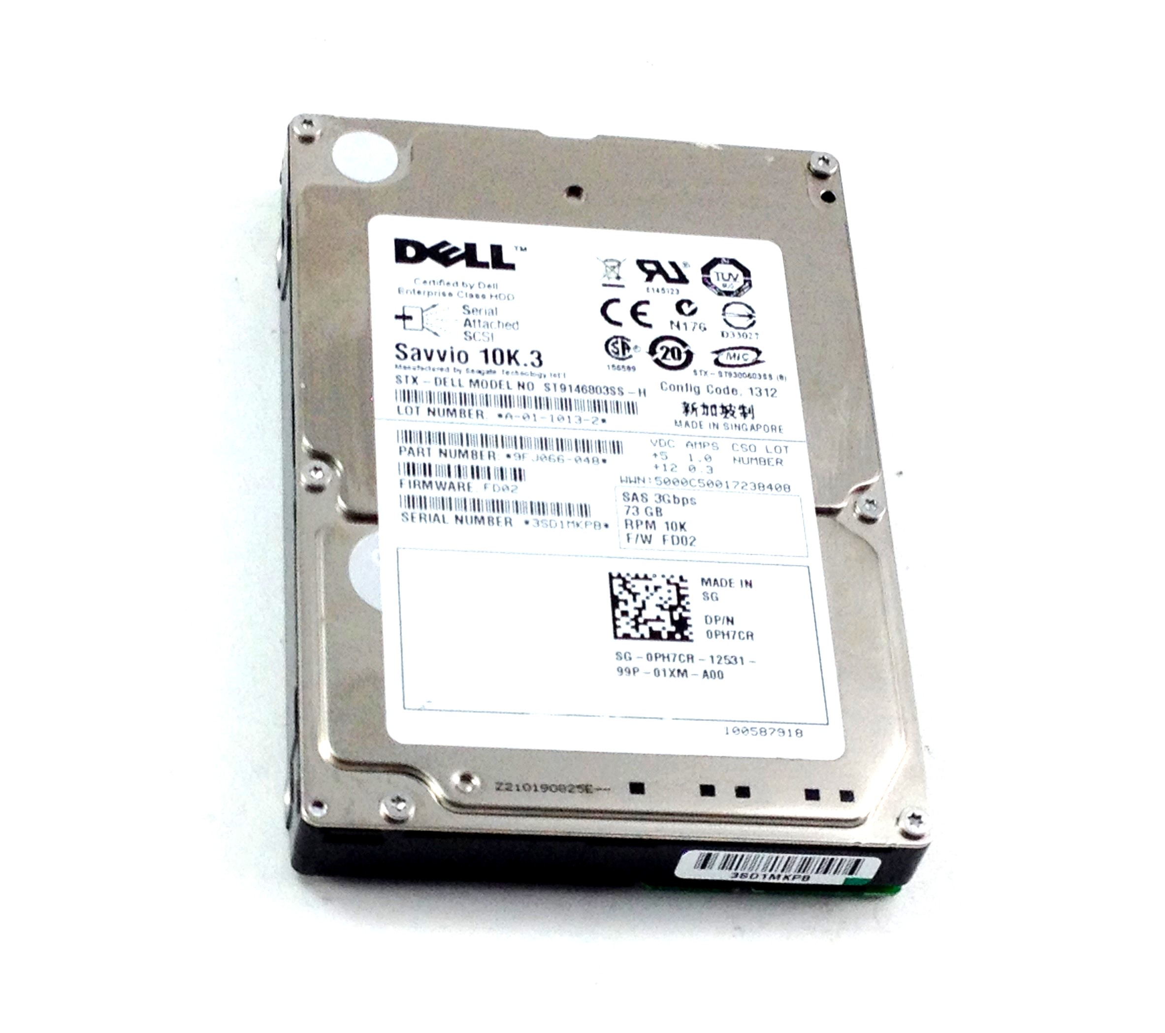 Dell 73GB 10K SAS 3Gbps 2.5'' HDD Hard Drive (PH7CR)