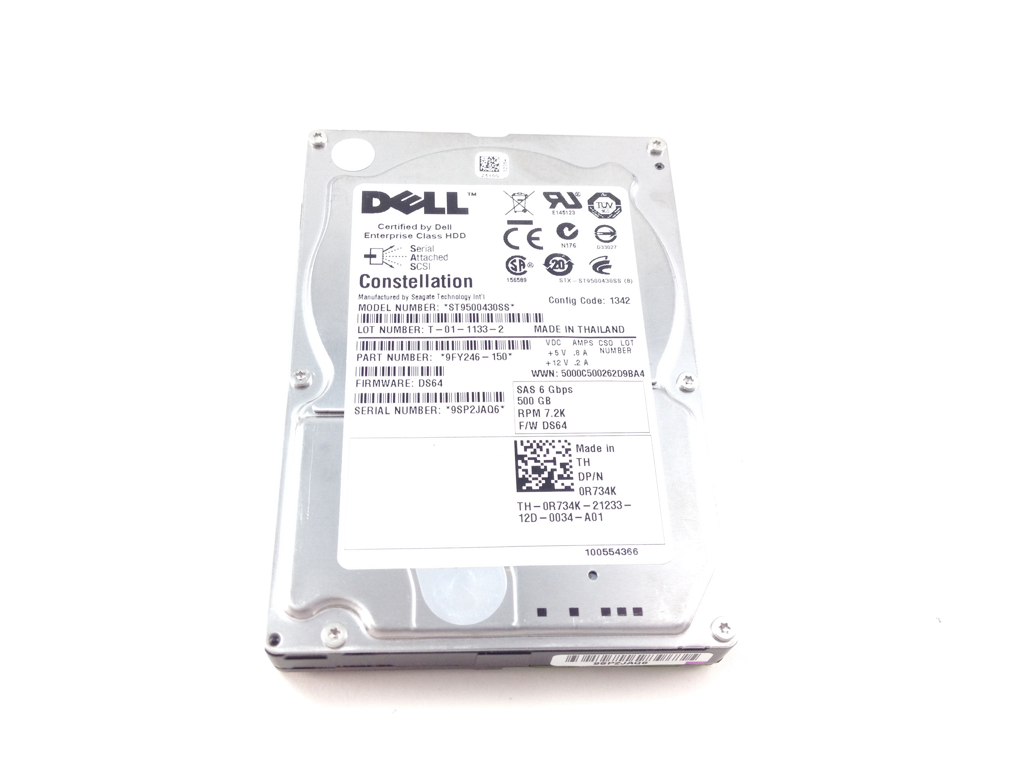 DELL CONSTELLATION 500GB 7.2K 6GBPS SAS 2.5'' HARD DRIVE (R734K)