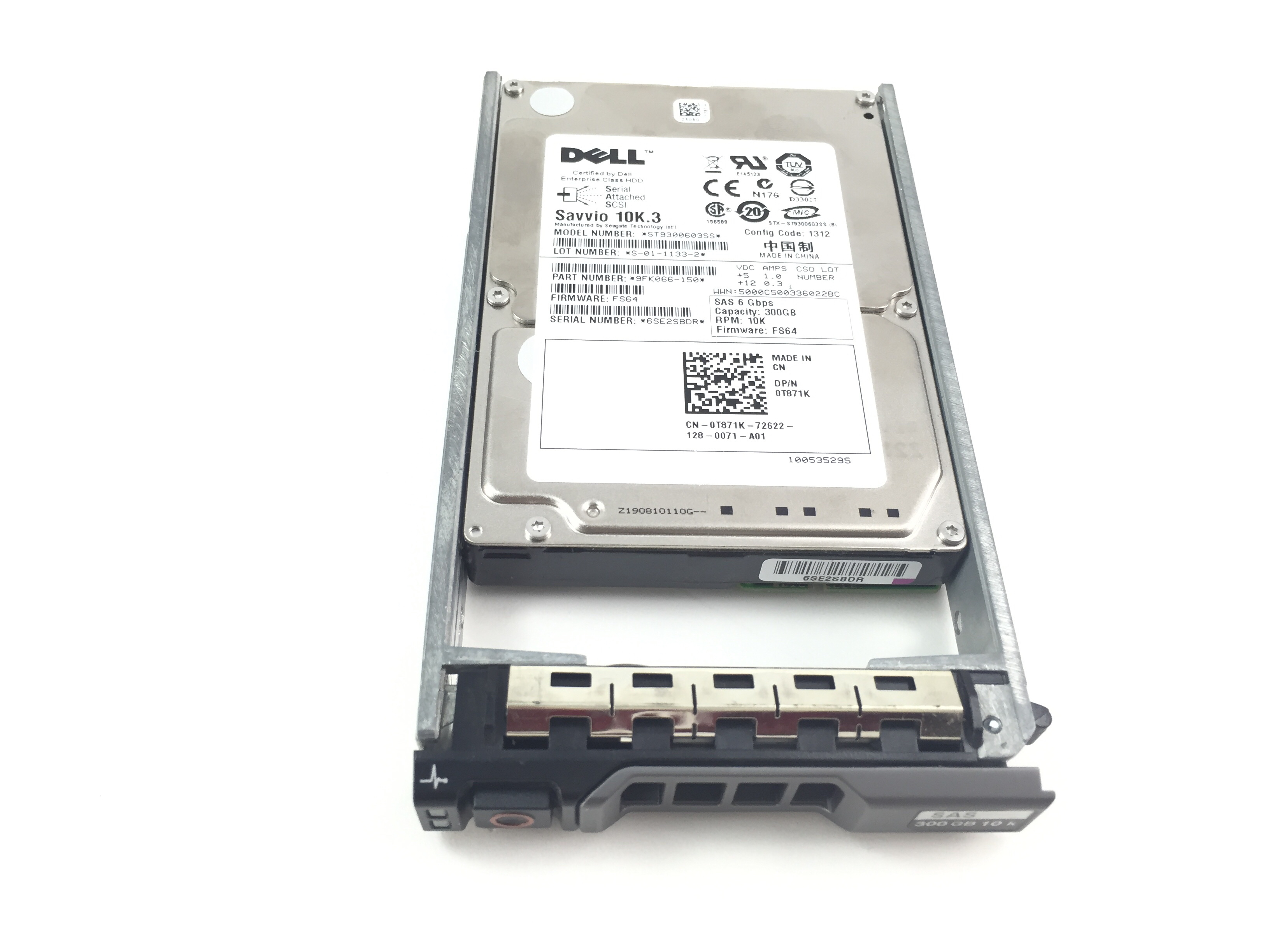 DELL 300GB 10K 6GBPS SAS 2.5'' HARD DRIVE W /R SERIES TRAY (T871K)