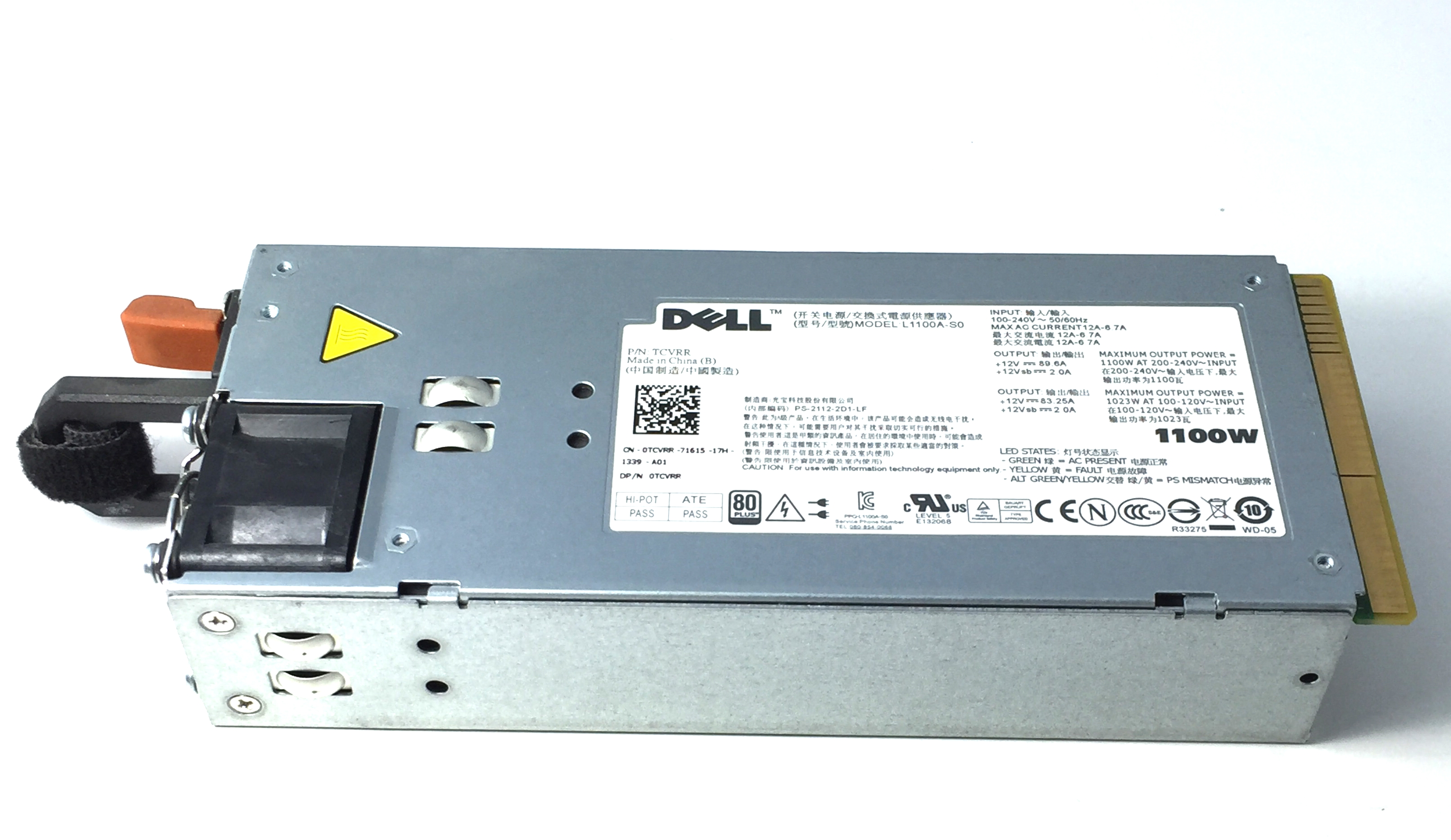 TCVRR DELL POWEREDGE R510 R810 R910 1100W POWER SUPPLY (TCVRR)