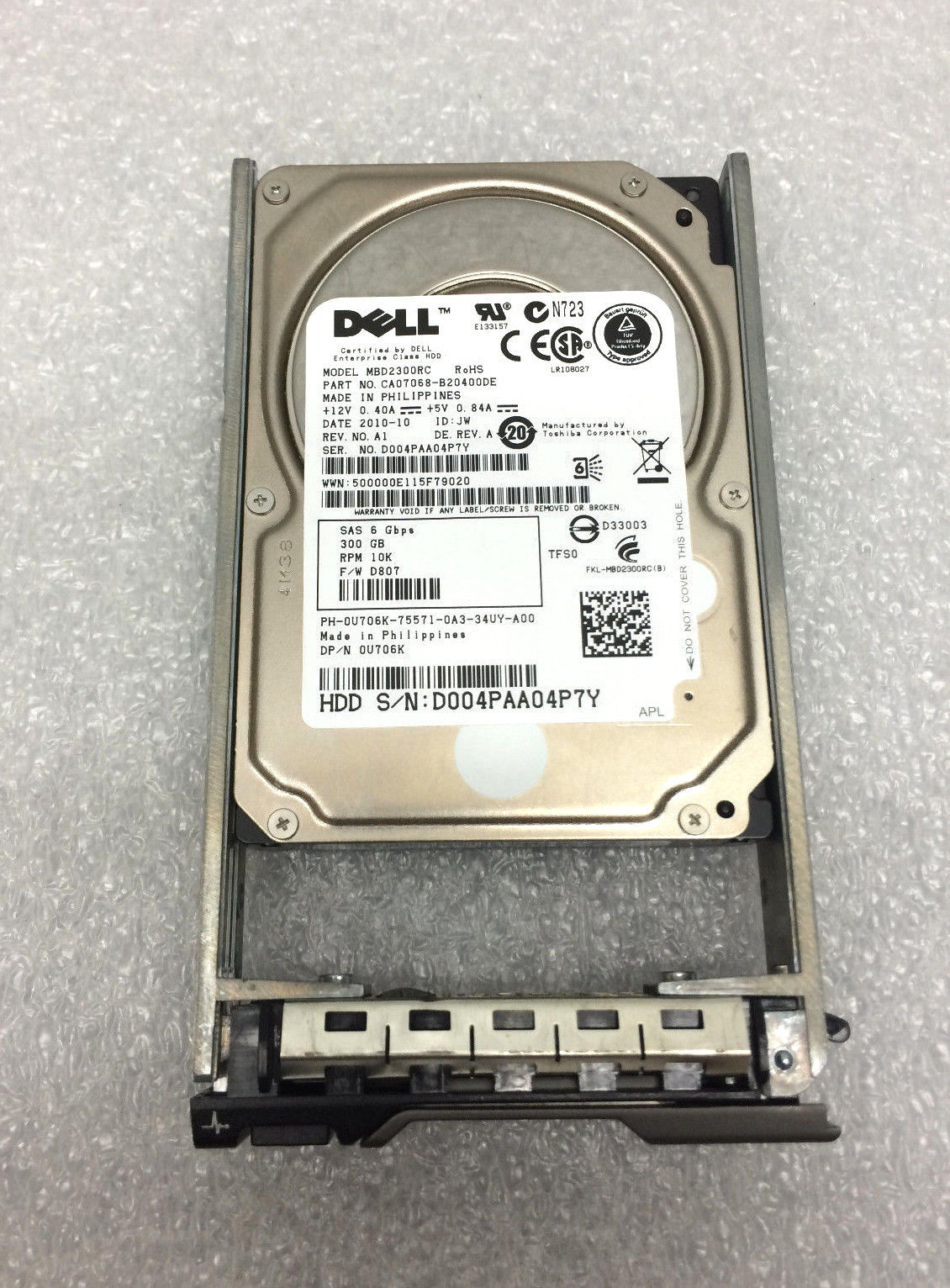 Dell U706K 300GB 10K 2.5 SAS 6GBPS HDD