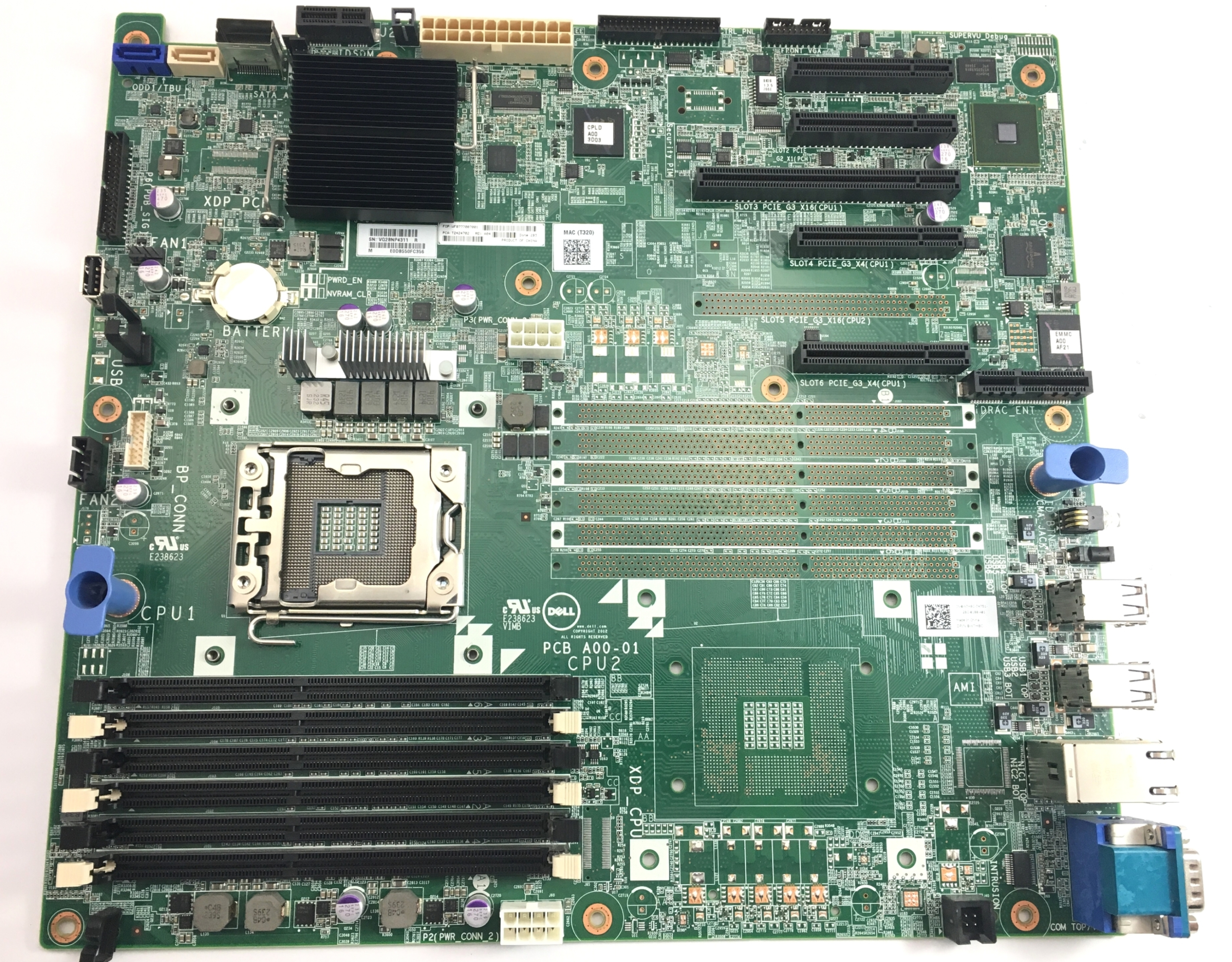 Dell PowerEdge T320 Single Socket LGA1356 System Board (W7H8C)