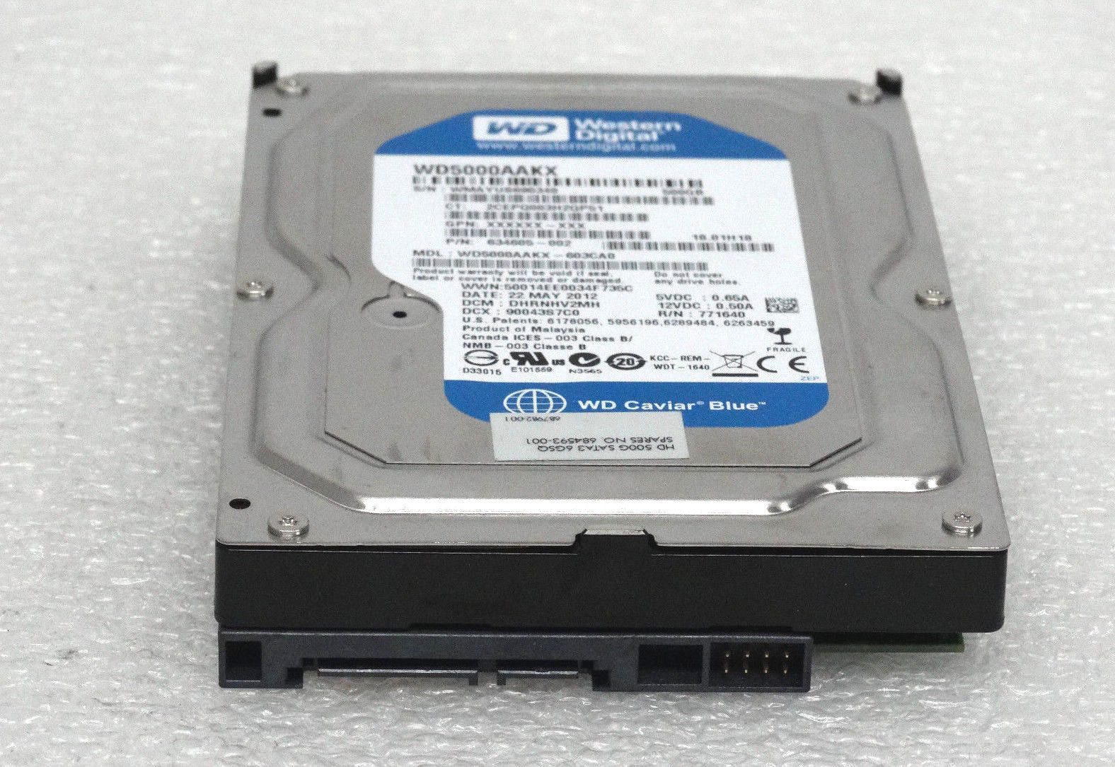 Western Digital Blue 500GB 7.2K 3.5'' SATA Hard Drive (WD5000AAKX)