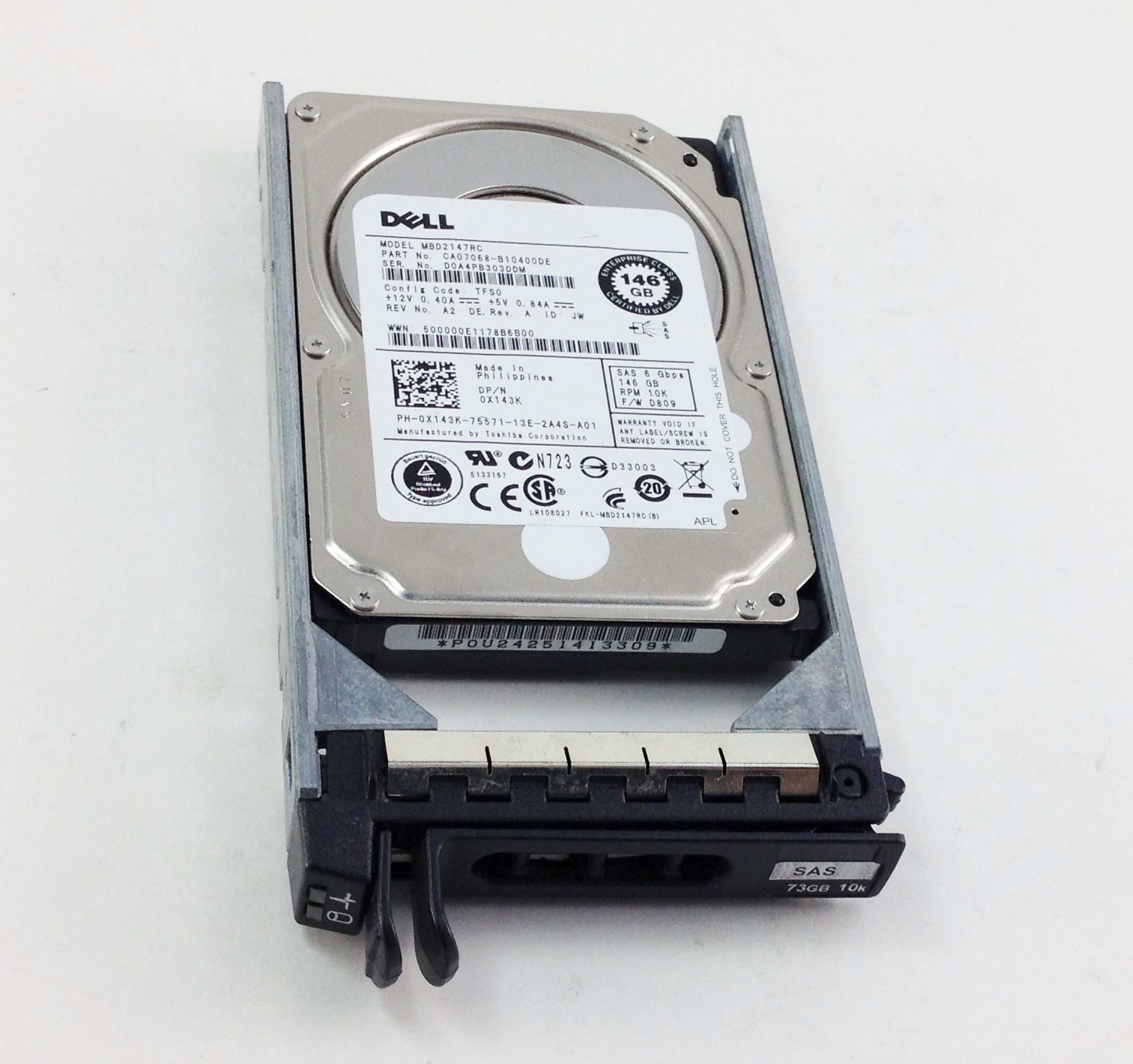 DELL 146GB 10K 6GBPS SAS 2.5'' HARD DRIVE (X143K)