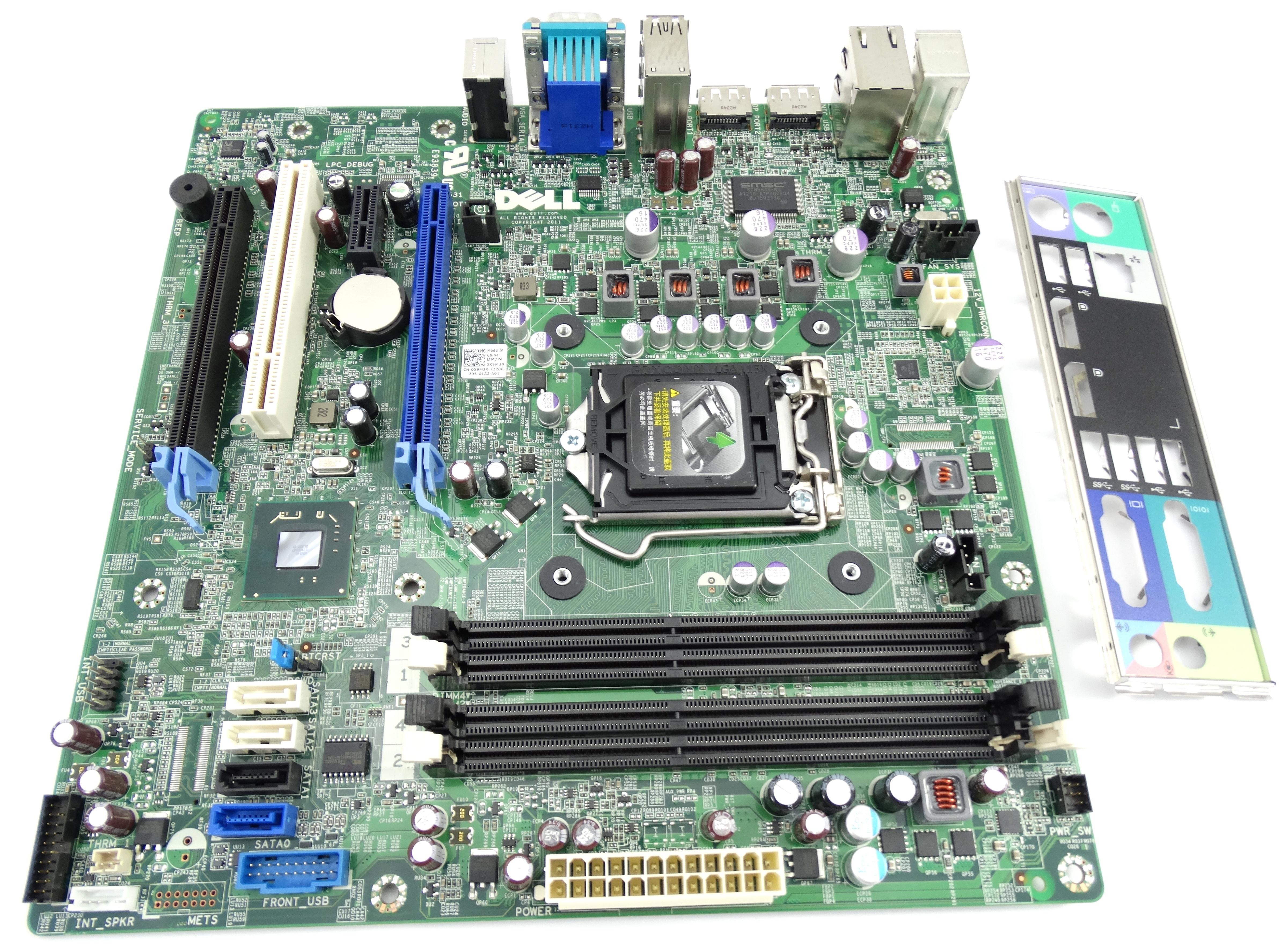 Dell Precision T1650 Microatx LGA1155 System Board w/Heatsink & I/O Plate (X9M3X)