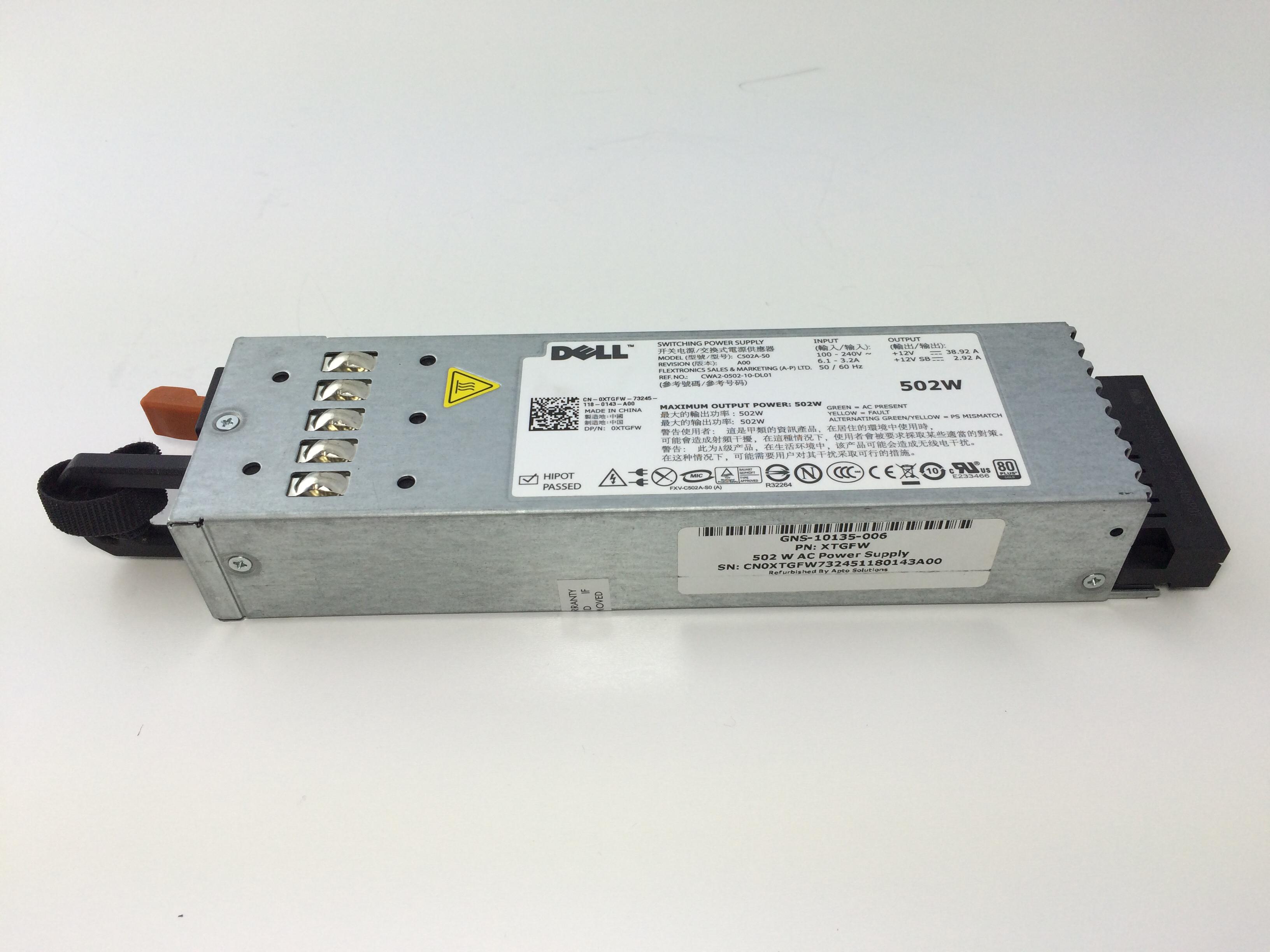 XTGFW Dell PowerEdge R610 502W Power Supply (XTGFW)