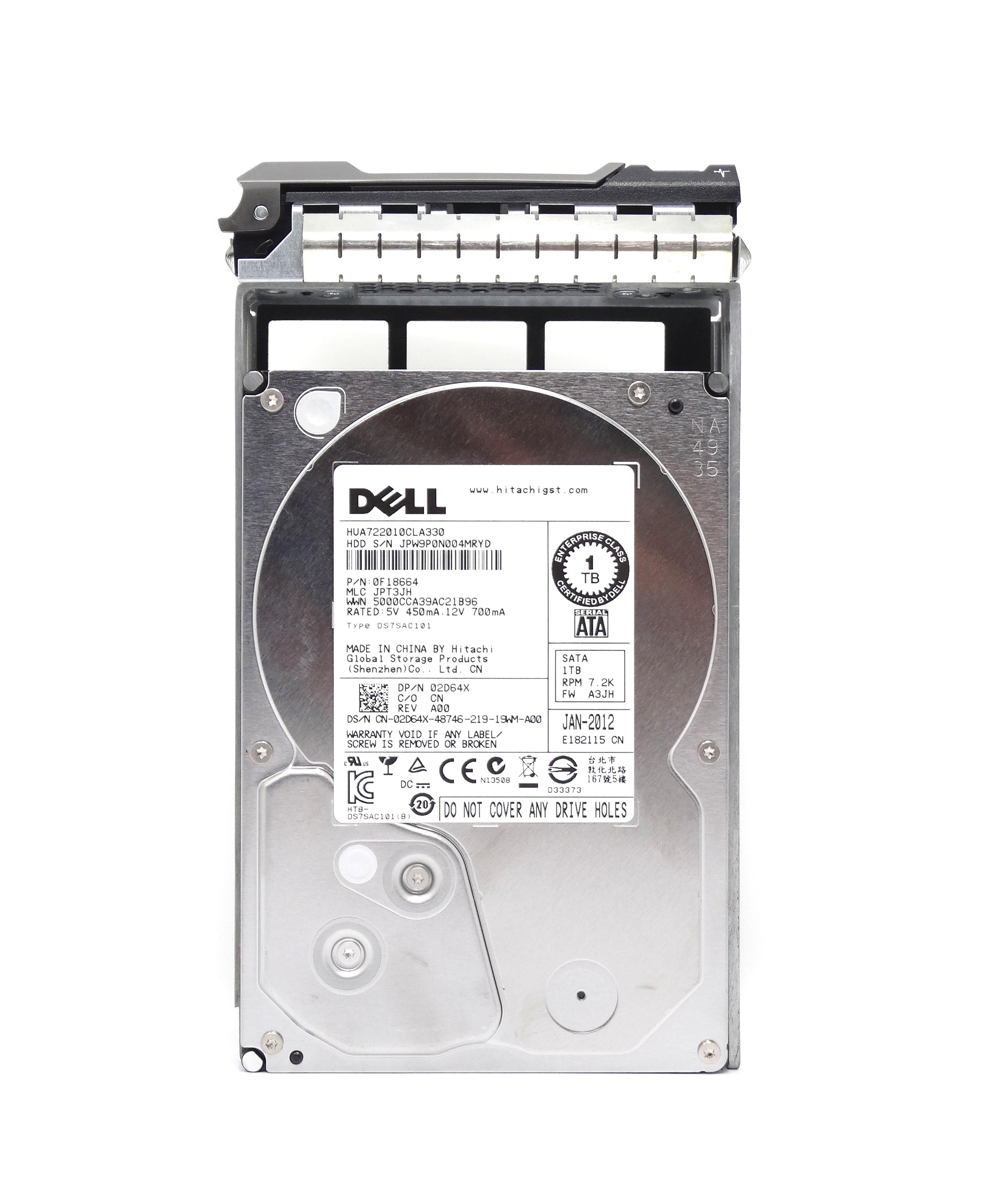 DELL 1TB 7.2K 3.5'' 3GB/S SATA HARD DRIVE (2D64X)