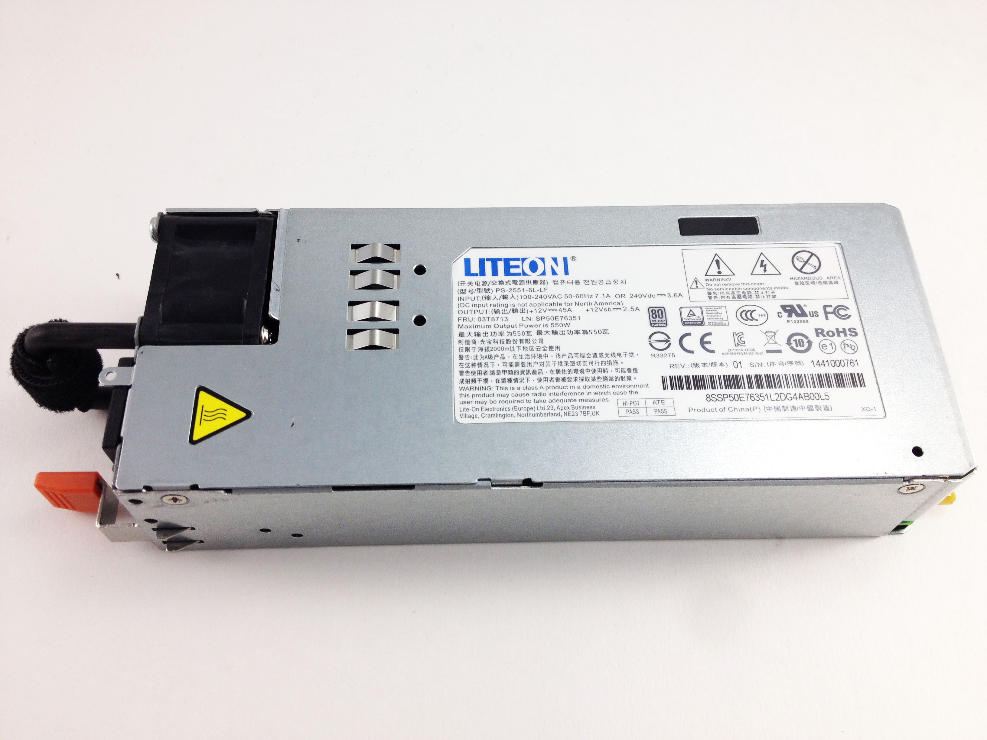 Liteon 550W Power Supply For Lenovo ThinkServer Rd450 RD650 (03T8713)