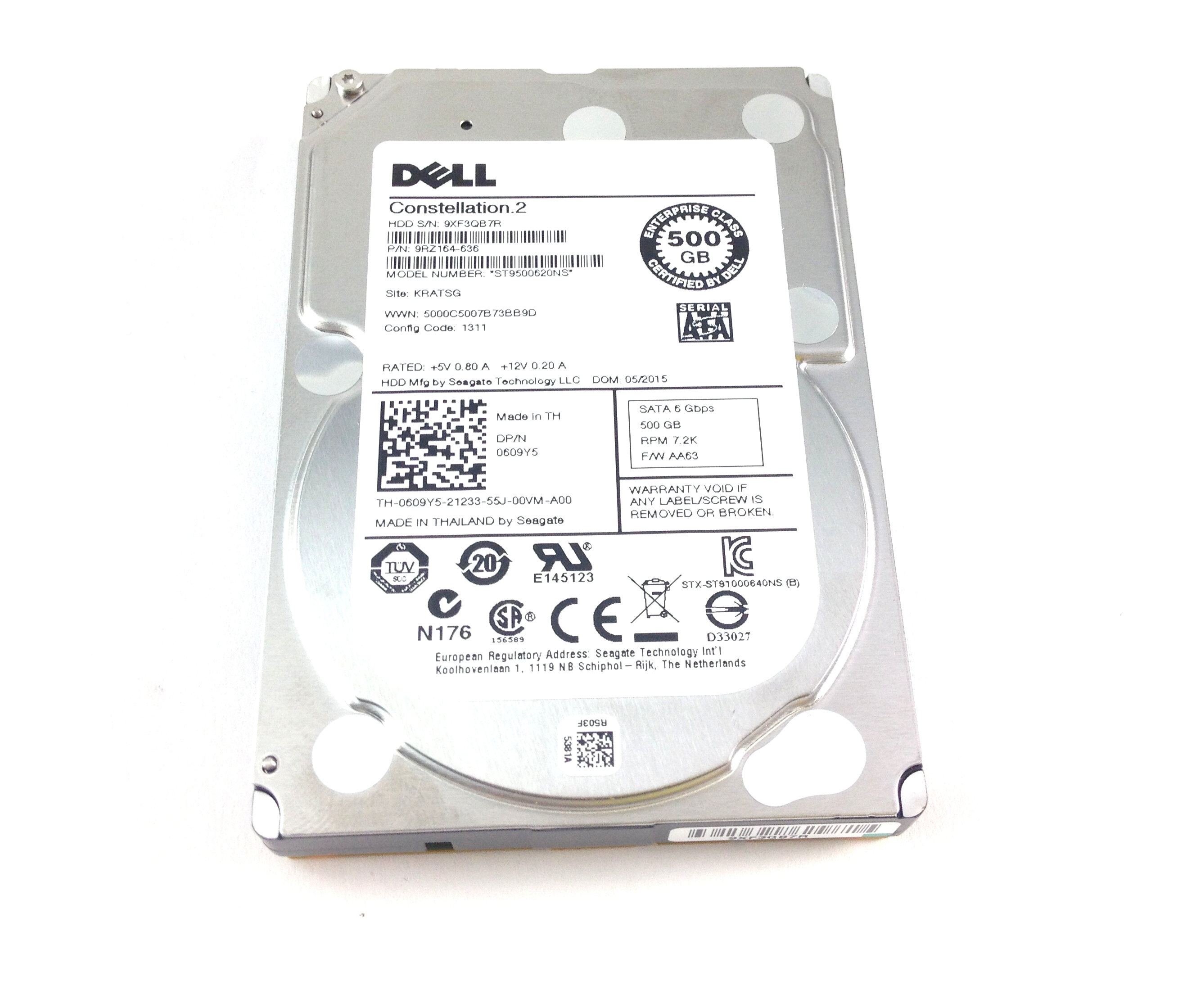 Dell 500GB 7.2K SATA 6Gbps 2.5'' Hard Drive (609Y5)