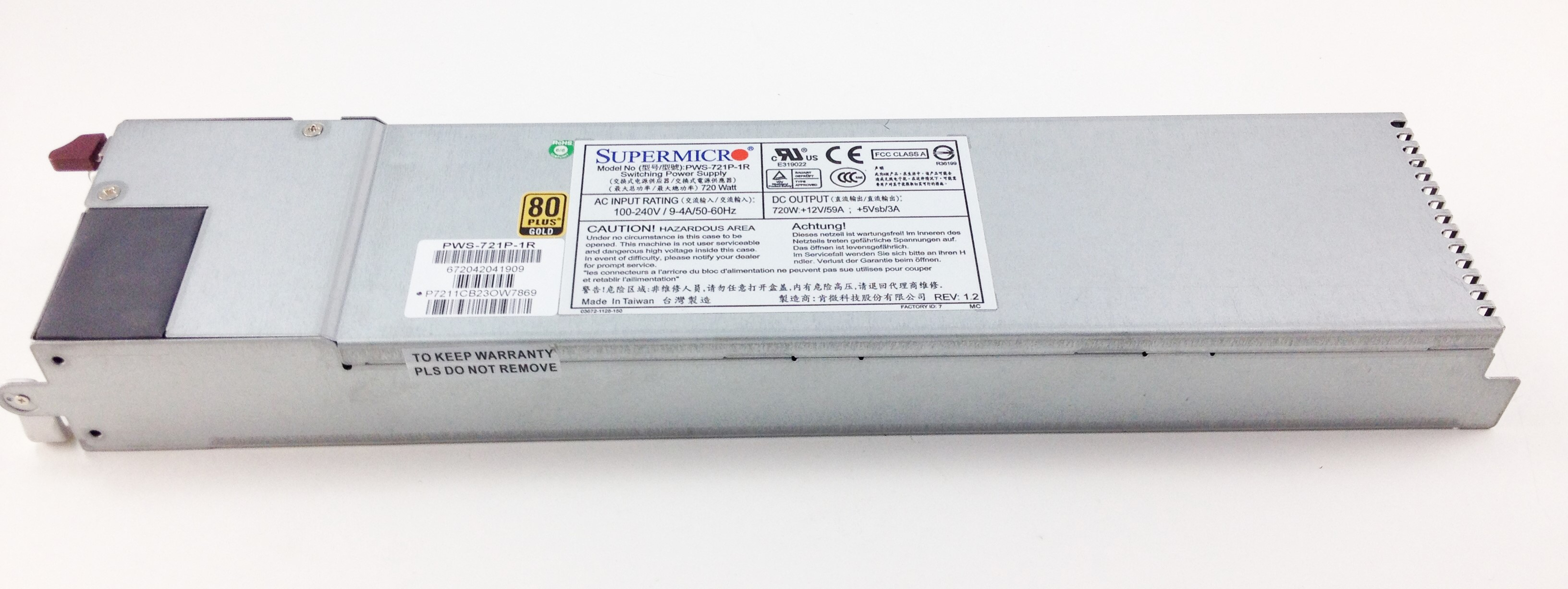 Supermicro 720 Watt Switching Power Supply (PWS-721P-1R)