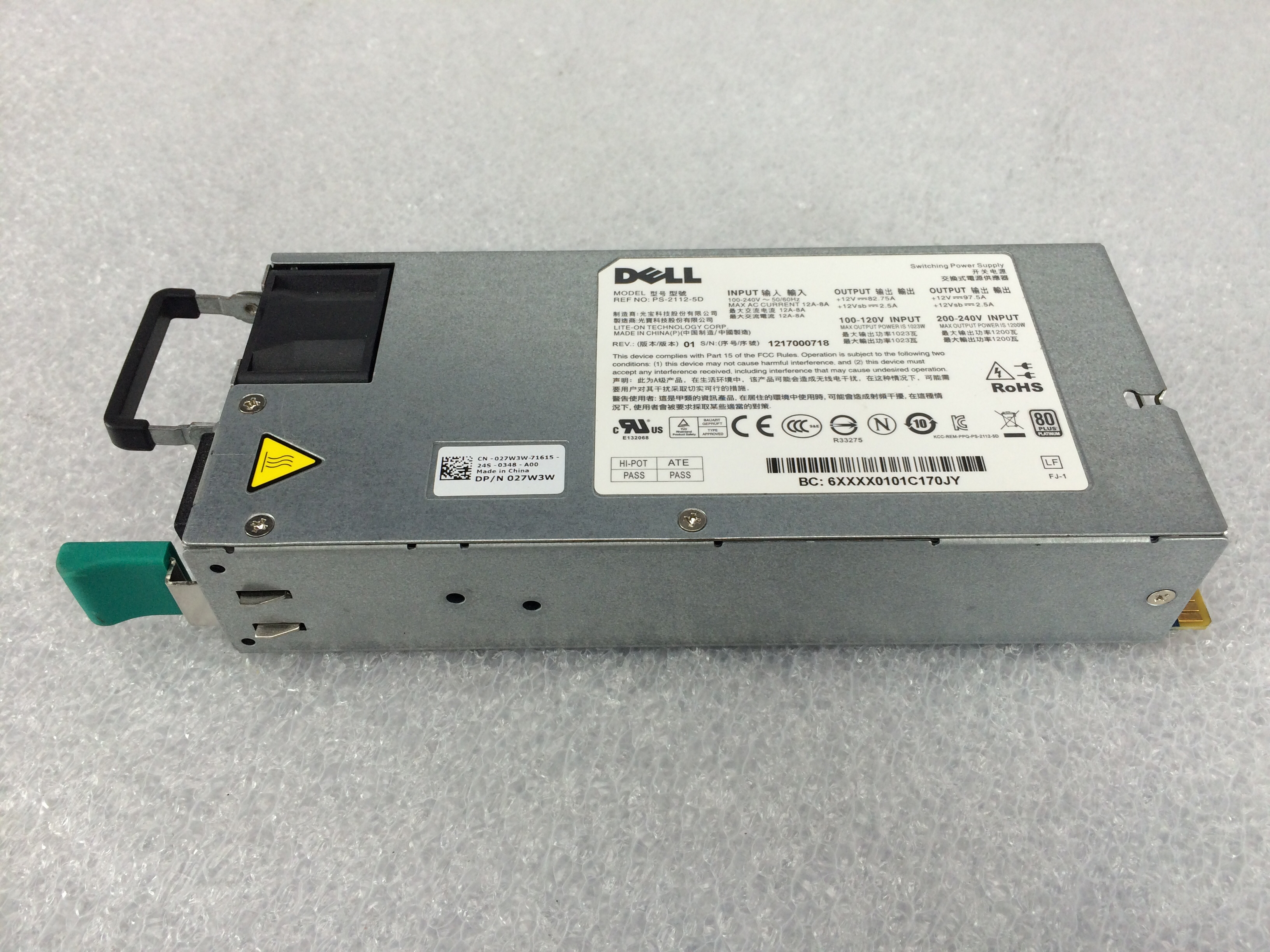 DELL POWEREDGE C6000/C6220 1200W HOT SWAP POWER SUPPLY (27W3W)