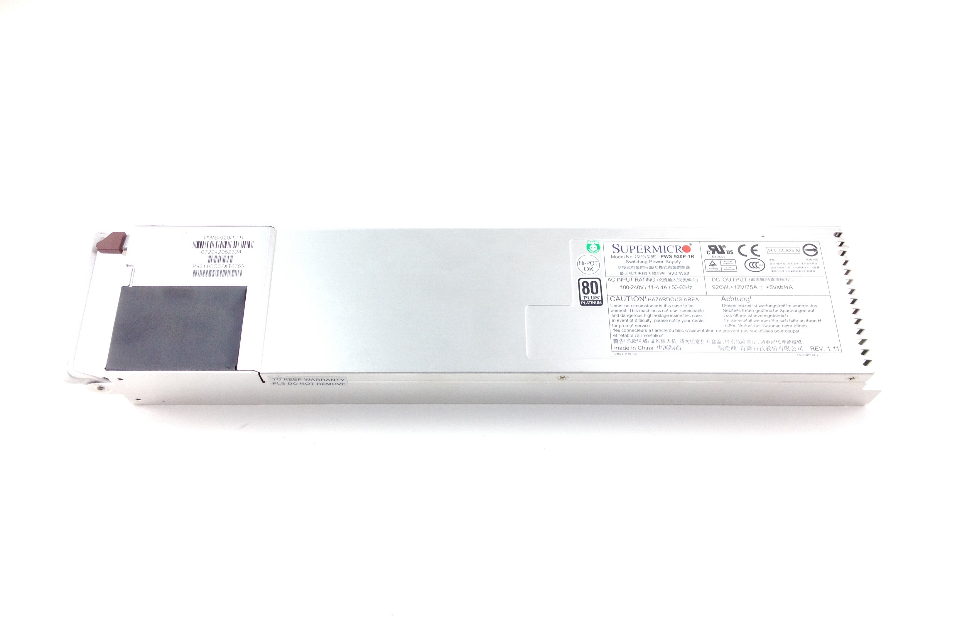 Supermicro 920W Watt 80 Plus Platinum 1U Power Supply PSU (PWS-920P-1R)