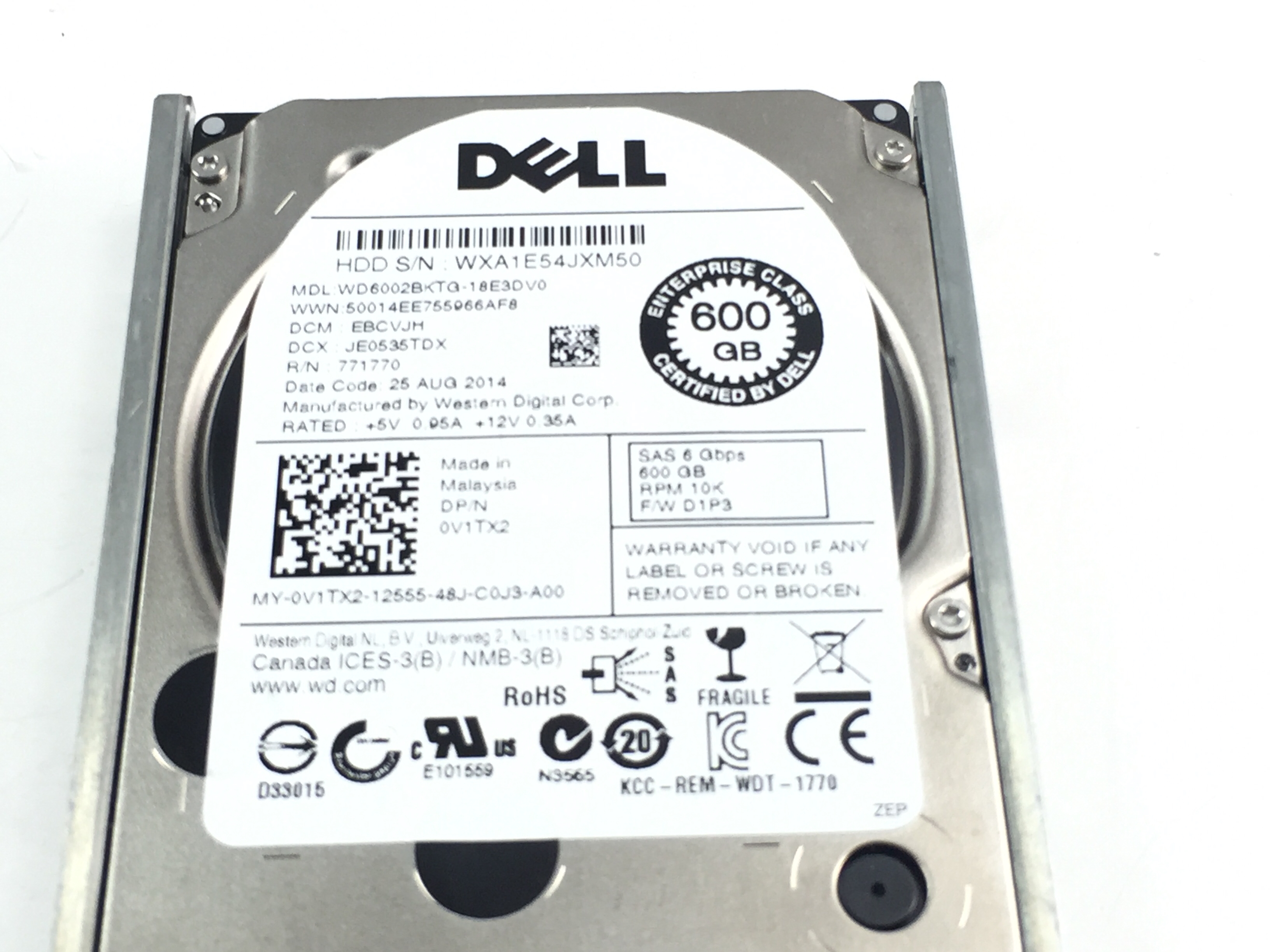 Dell 600GB 10K 6Gbps SAS 2.5'' Enterprise Hard Drive (V1TX2)