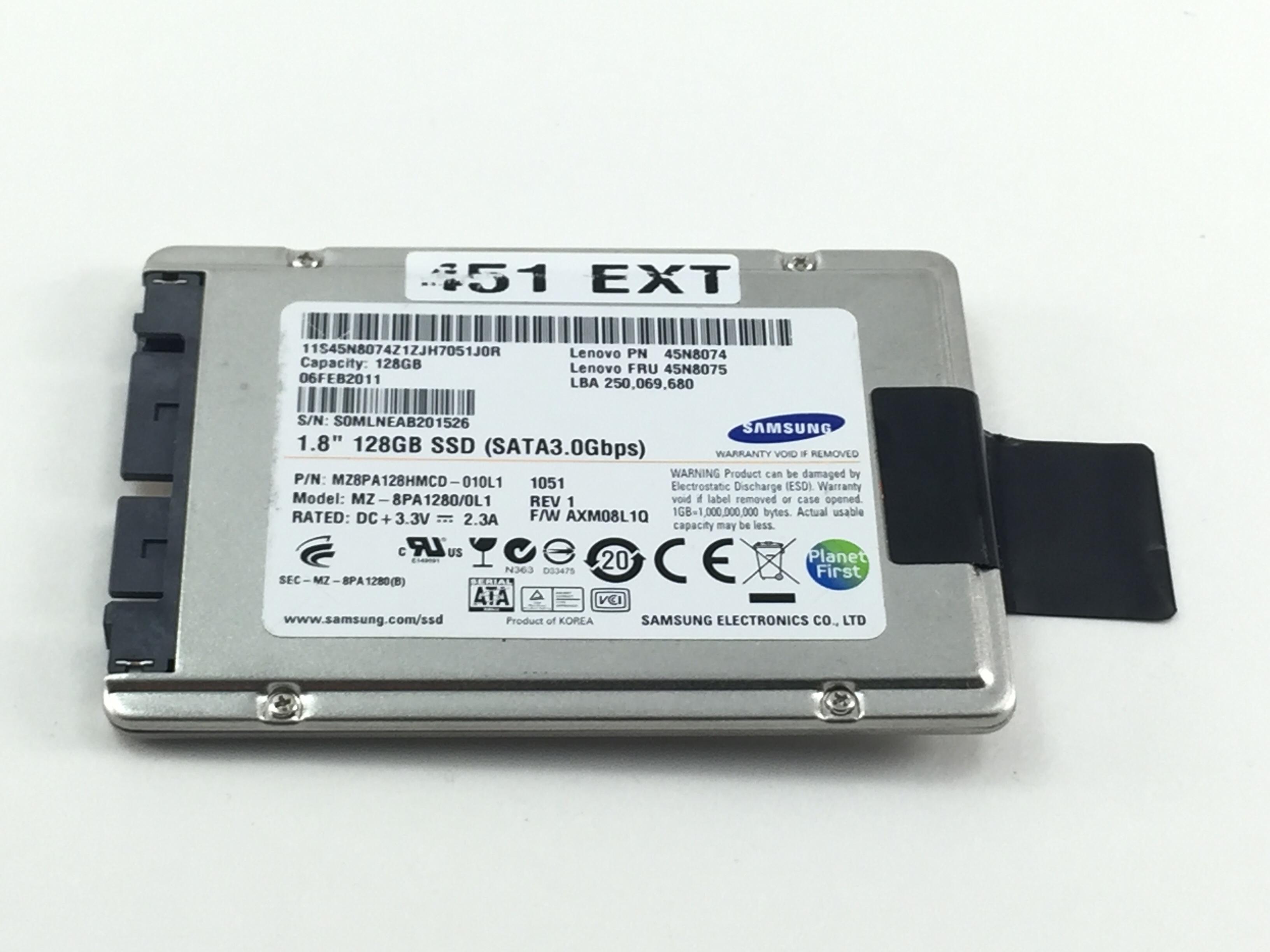 Lenovo Samsung 128GB 3Gbps SATA 1.8'' Solid State Hard Drive. (45N8074)