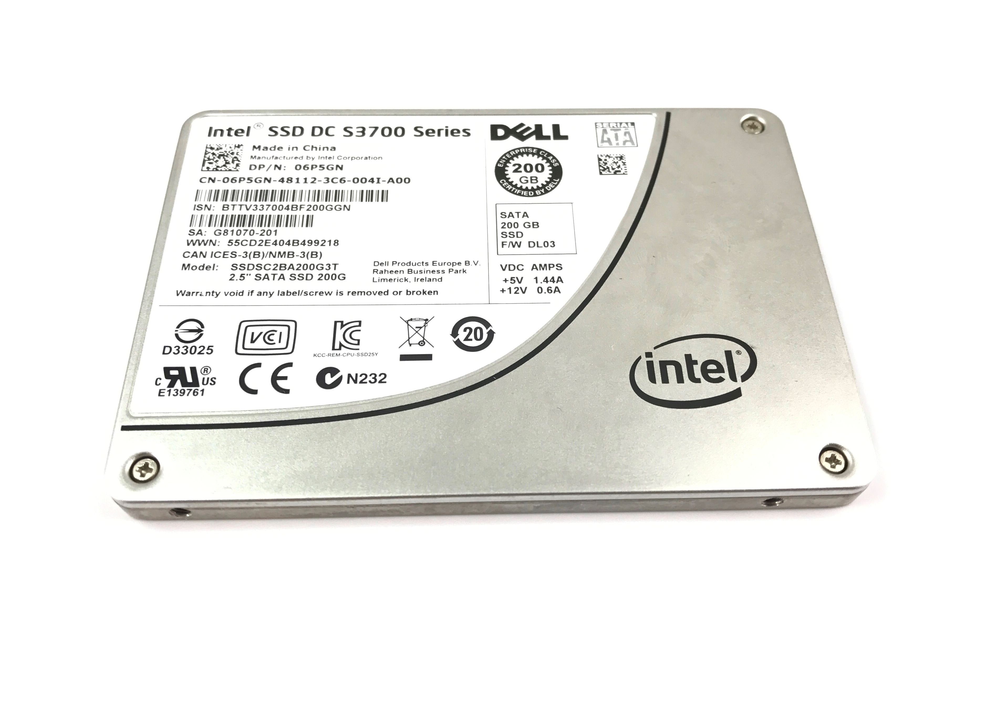 DELL INTEL DC S3700 200GB 6GBPS SATA 2.5'' SOLID STATE DRIVE SSD (6P5GN)