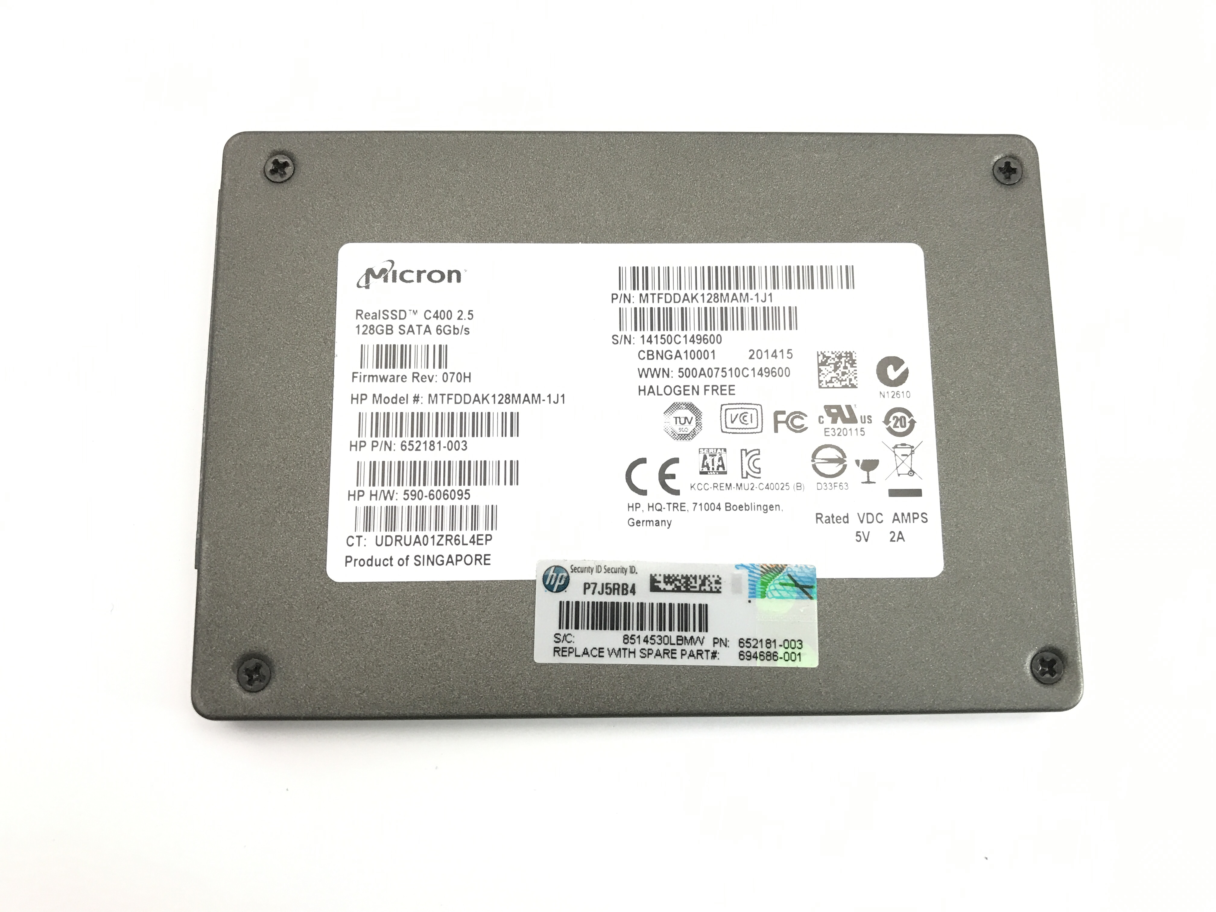 HP Micron 128GB 6Gbps SATA 2.5'' Solid State Drive (694686-001)