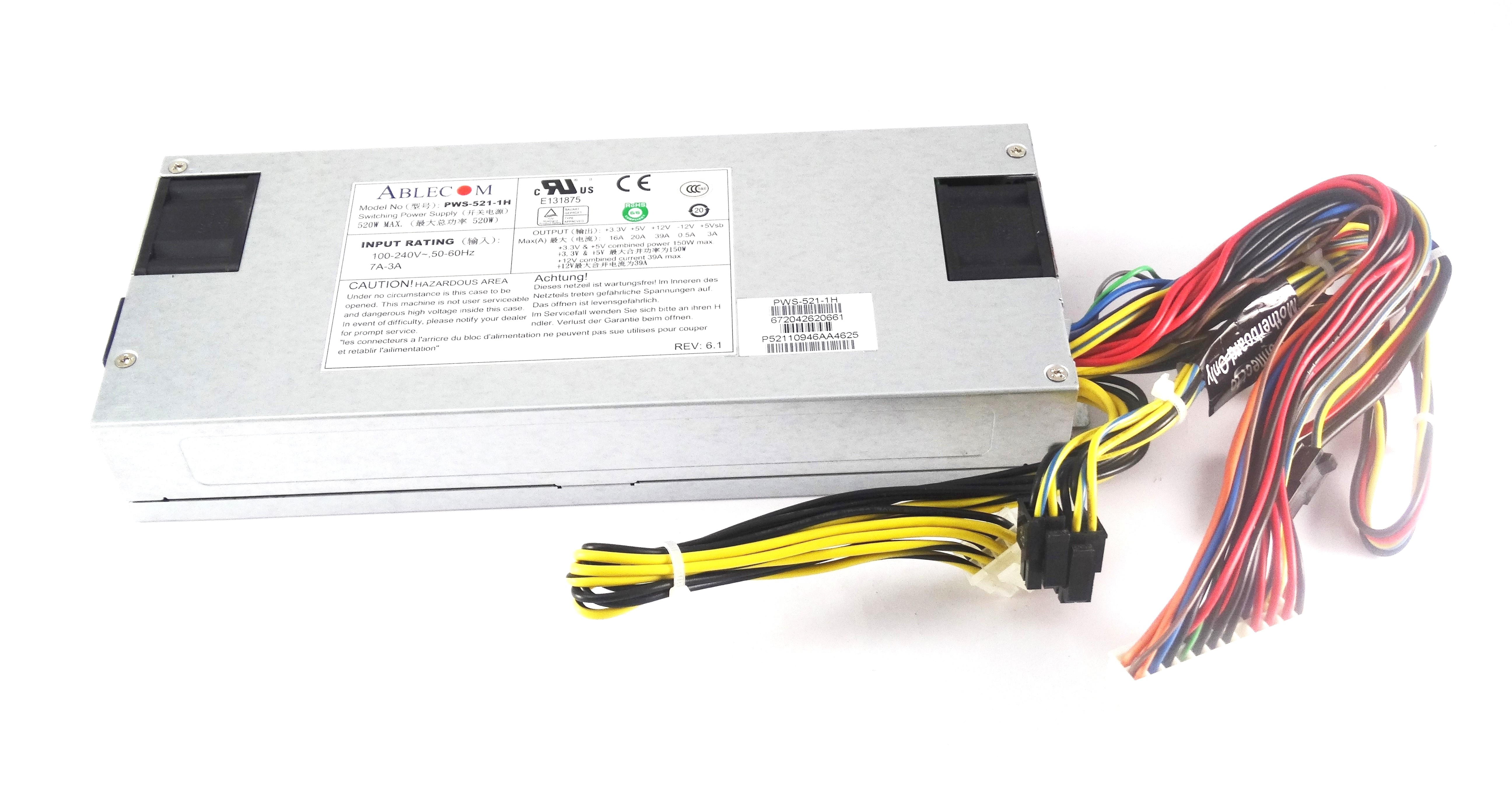 Supermicro Ablecom 520W Switching Power Supply (PWS-521-1H)
