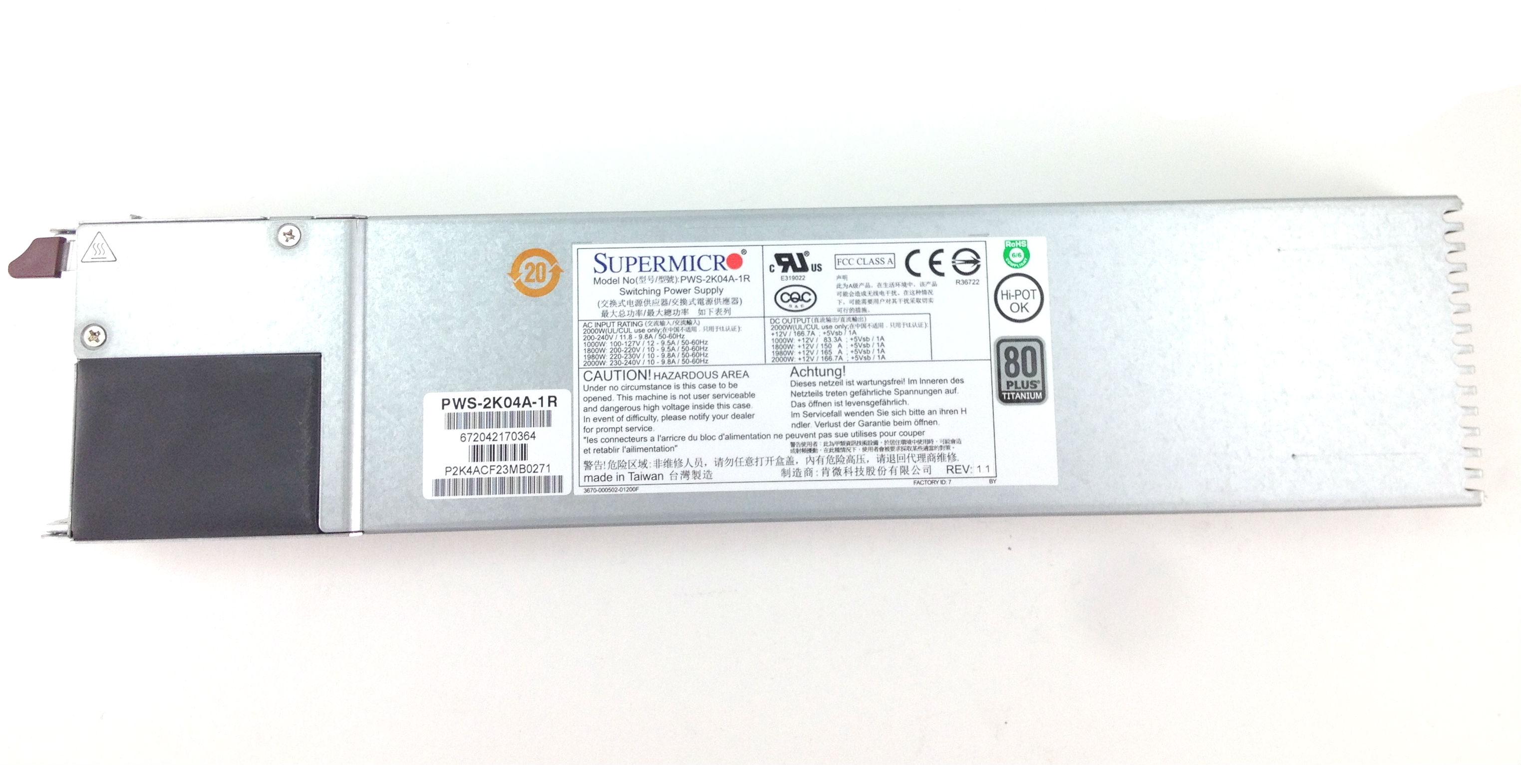 Supermicro 2000W Redundant Hot Swap Power Supply (PWS-2K04A-1R)