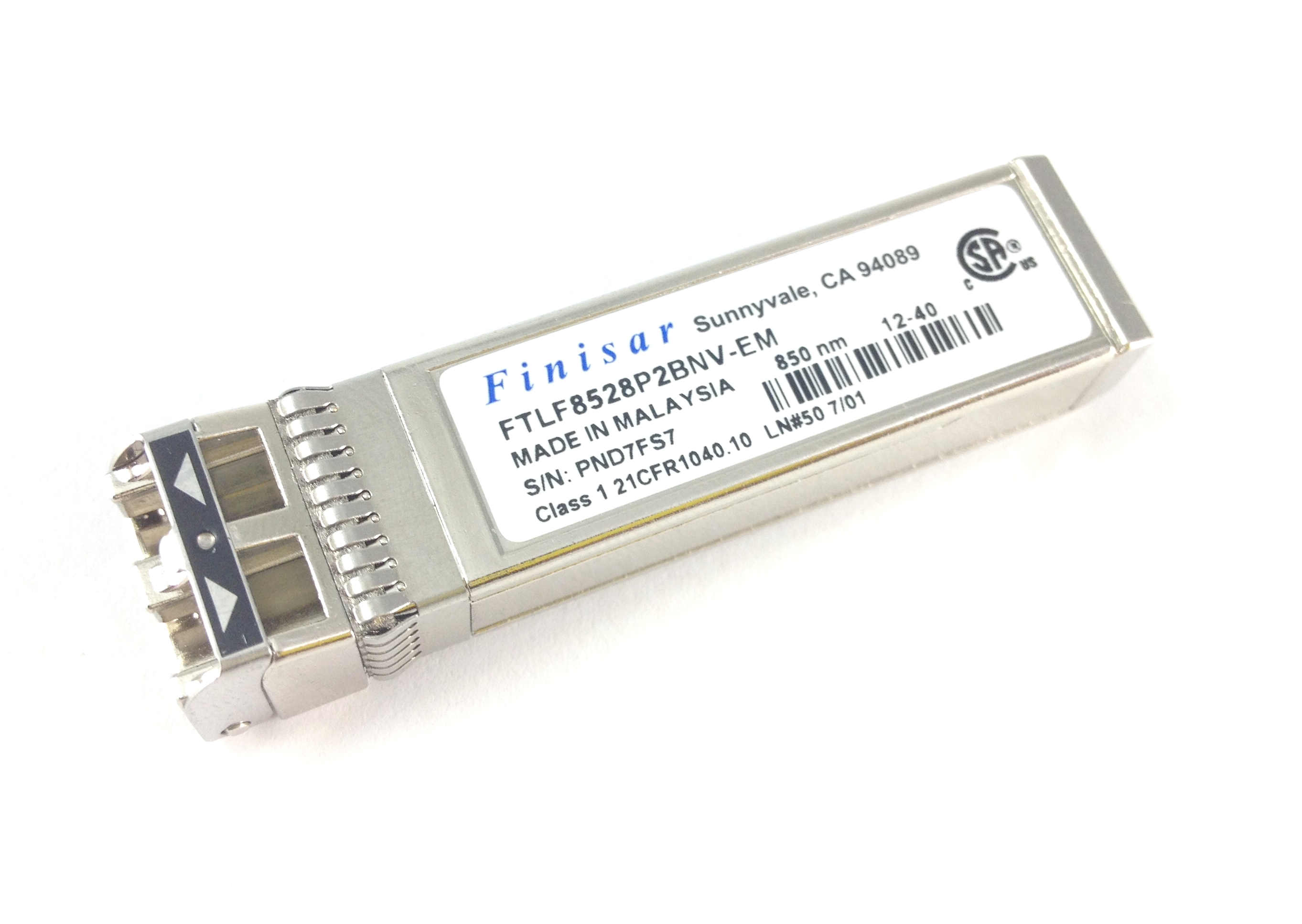 FINISAR 8GB 850NM FC SFG+ OPTICAL FIBER CHANNEL TRANSCEIVER (FTLF8528P2BNV-EM)