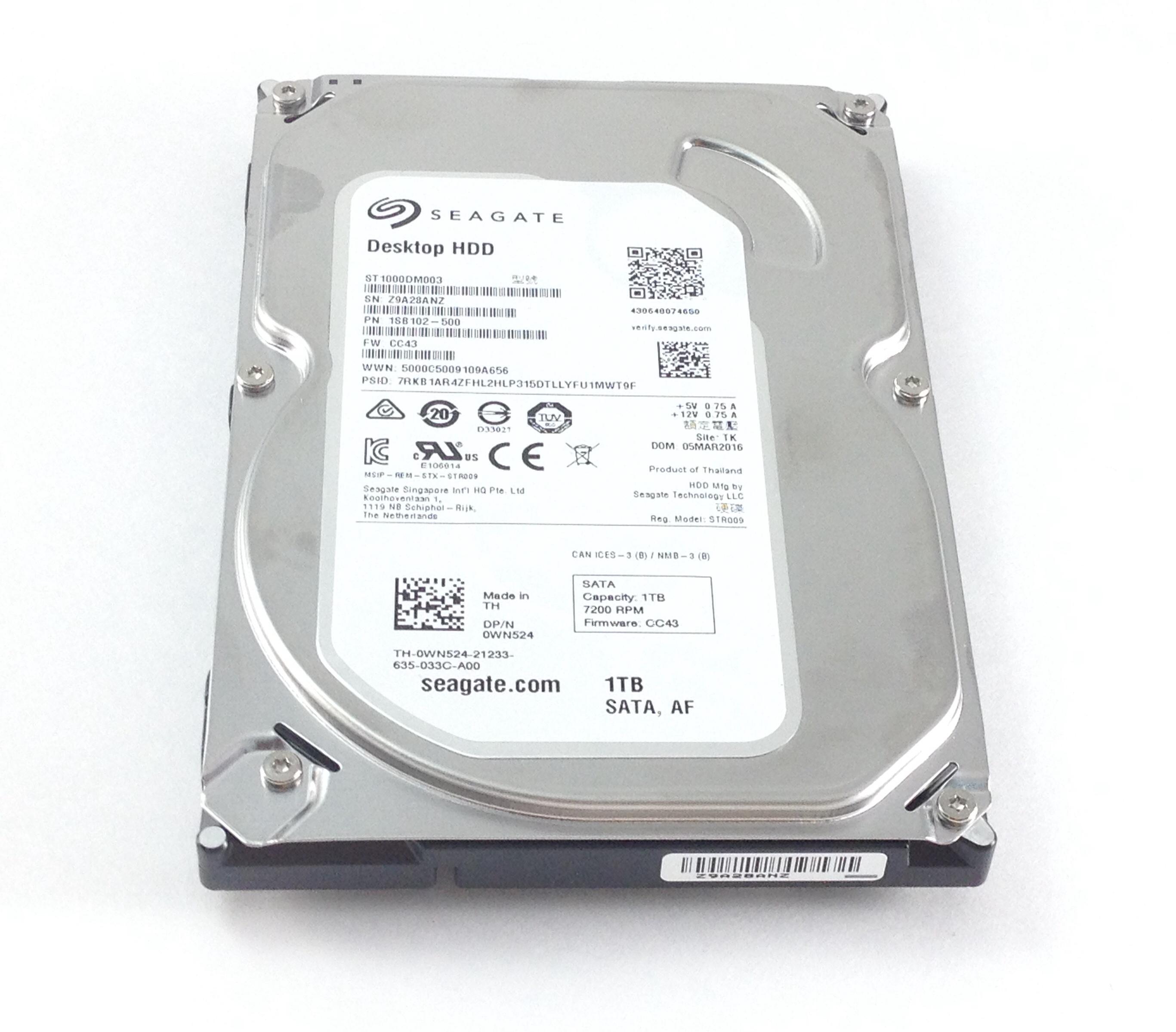 DELL SEAGATE 1TB 7.2K 6GBPS SATA 3.5'' HARD DRIVE (WN524)