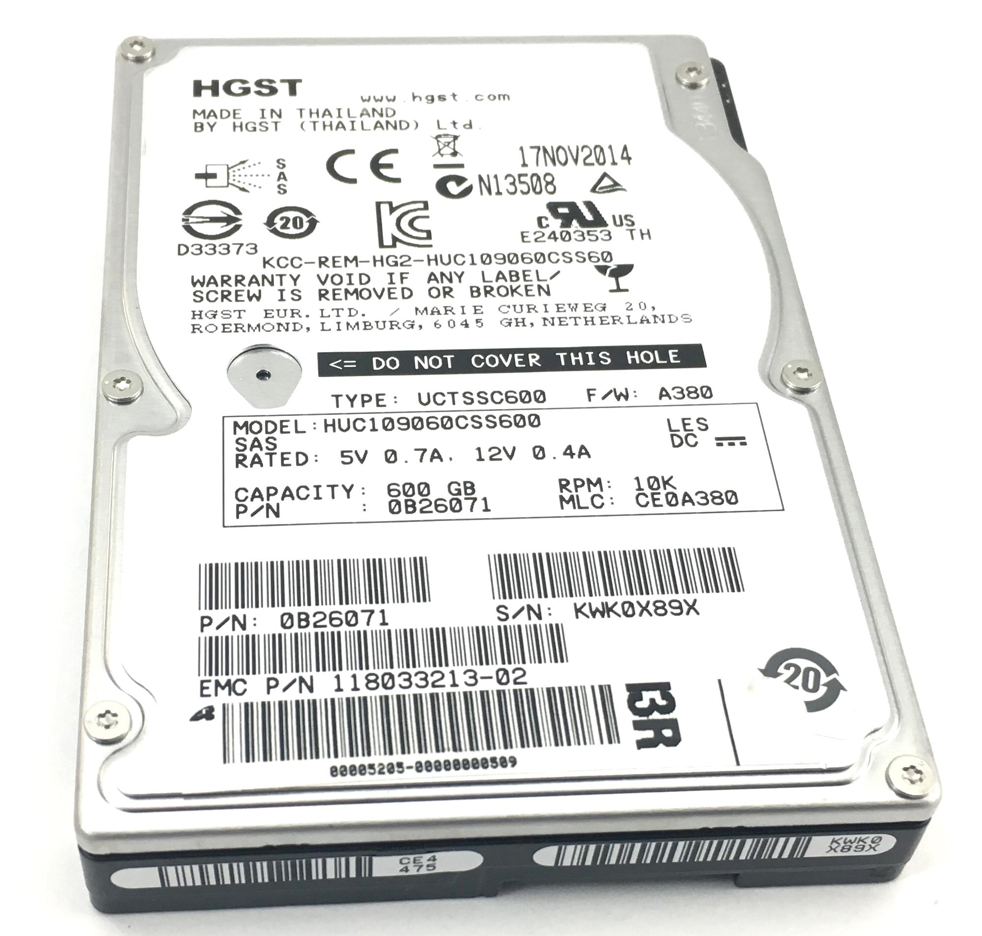HGST 600GB 10K SAS 2.5'' HDD Hard Drive (HUC109060CSS600)