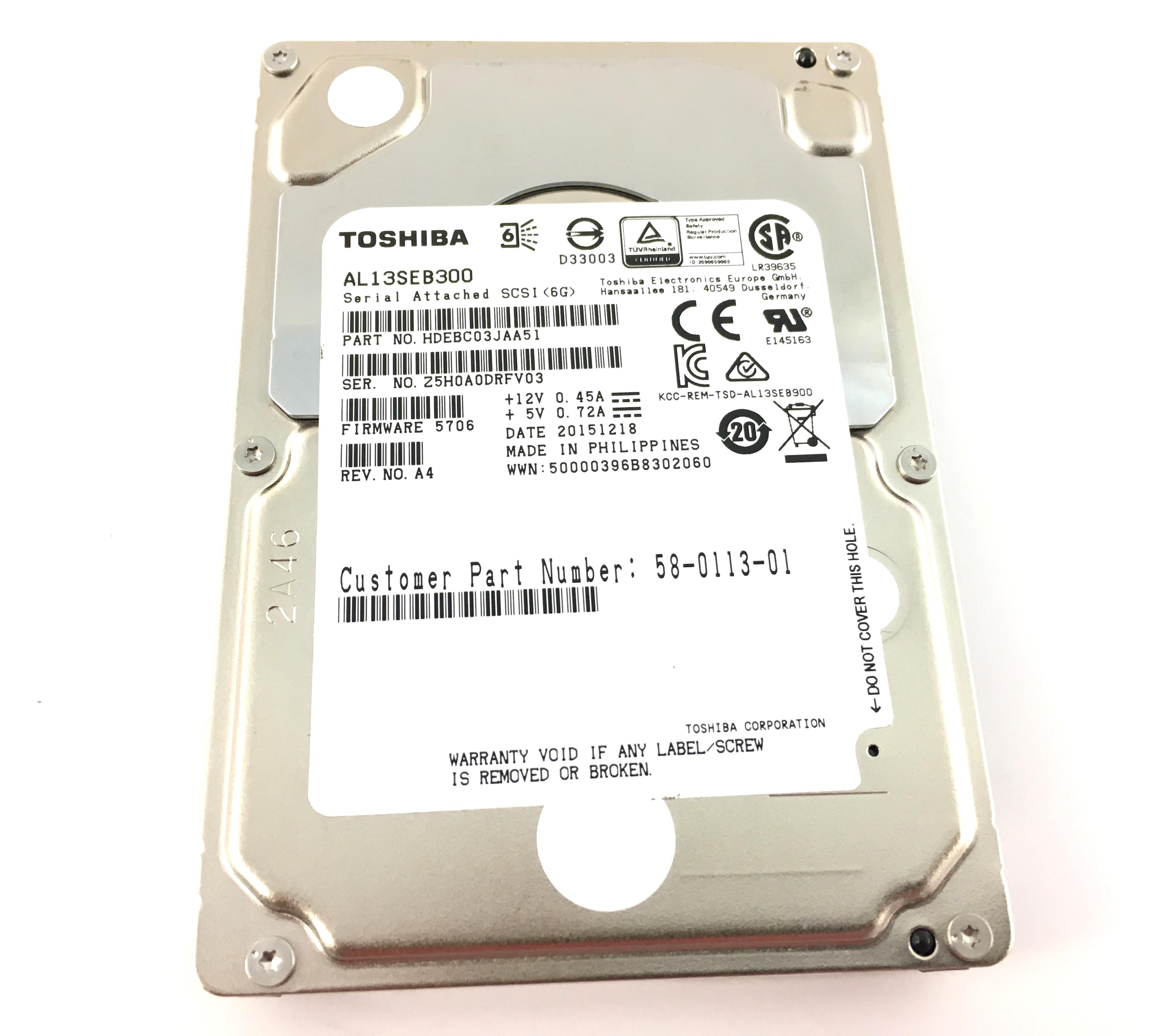 Toshiba 300GB 10K 6Gbps SAS 2.5'' Hard Drive (AL13SEB300)