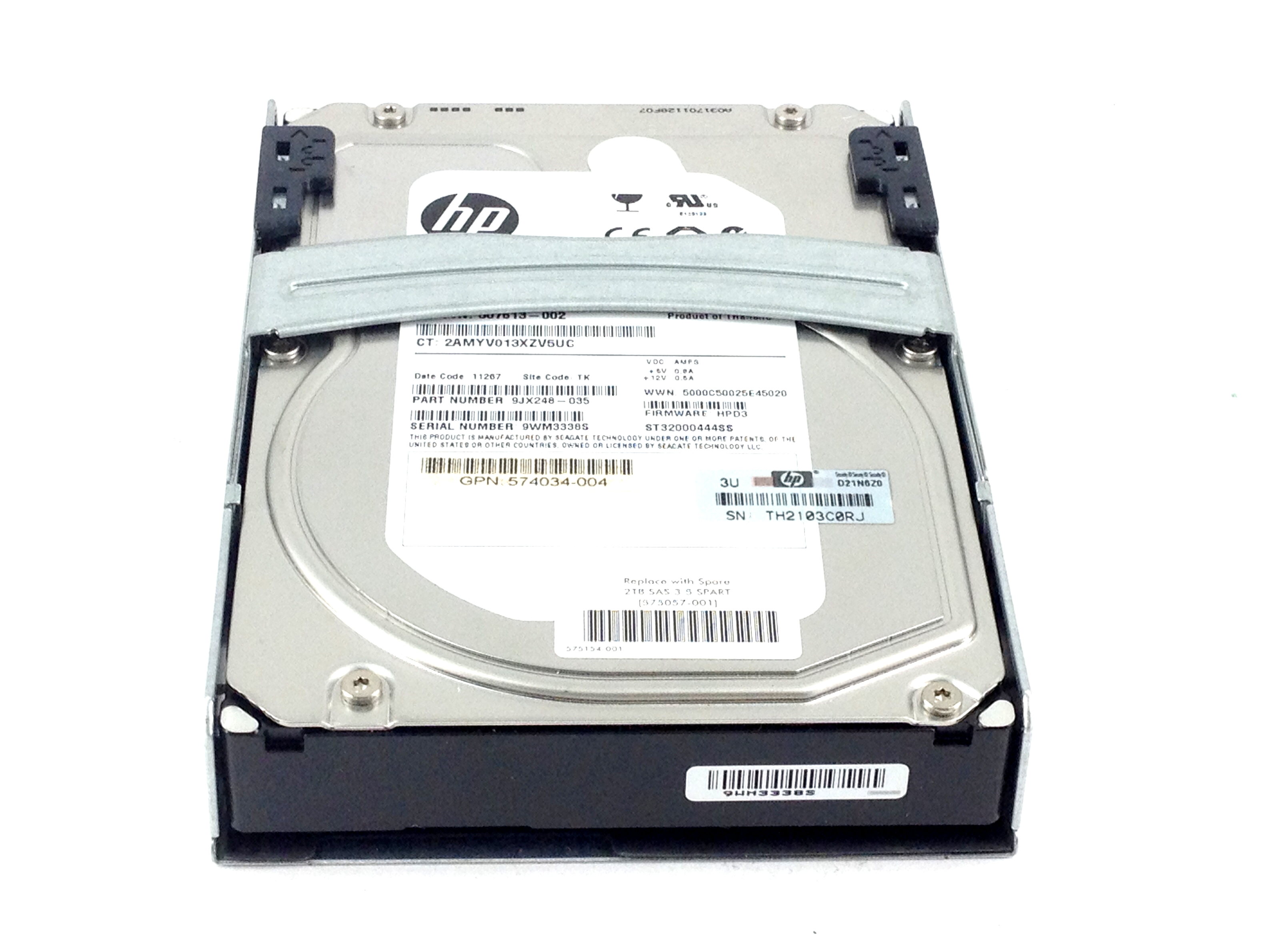 HP 2TB 7.2K 6GBPS SAS 3.5'' HARD DRIVE W/ QUICK RELEASE TRAY (575057-001)