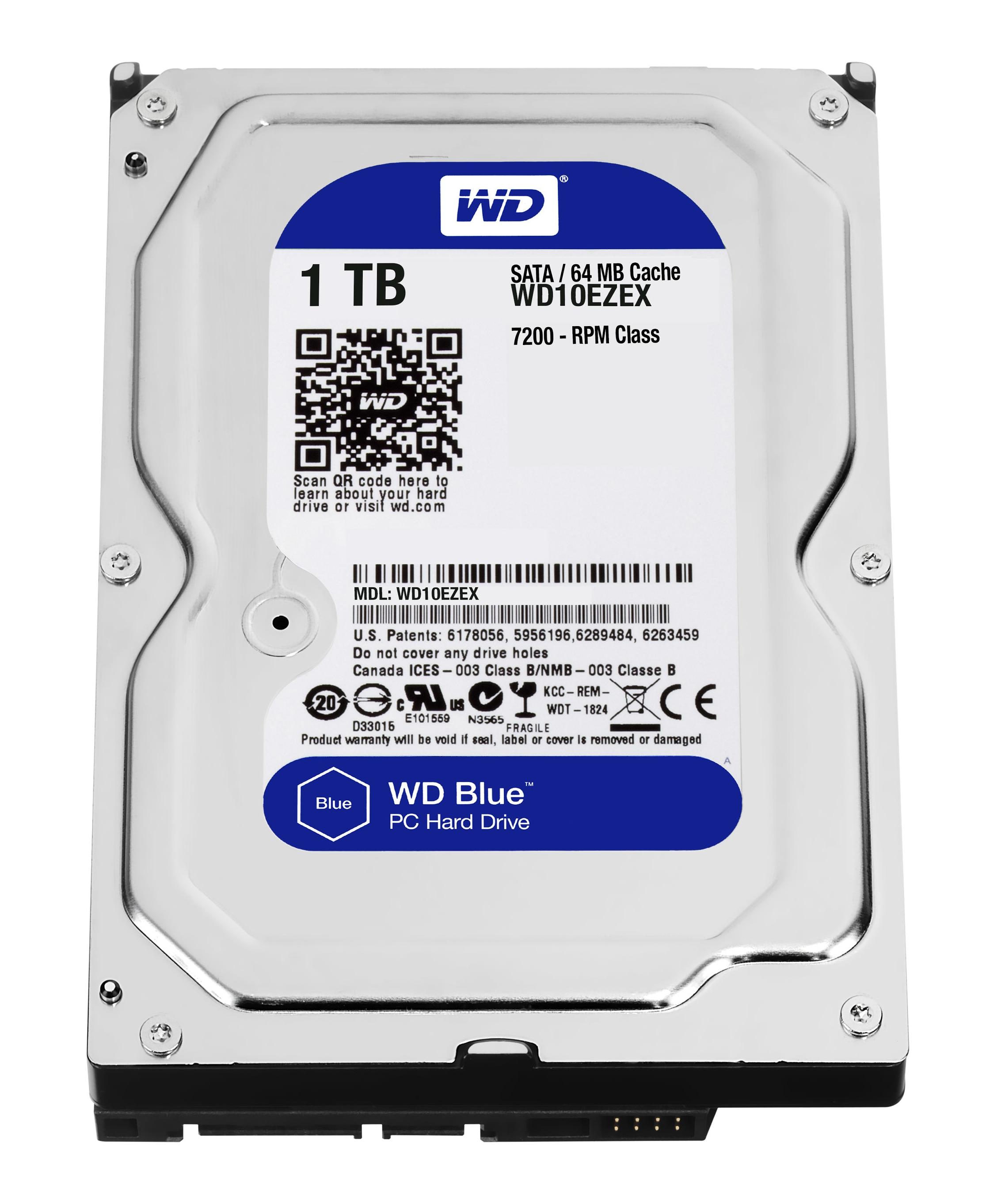 Western Digital Blue  1TB HD 7200RPM 3.5'' Internal PC Hard Drive (WD10EZEX)