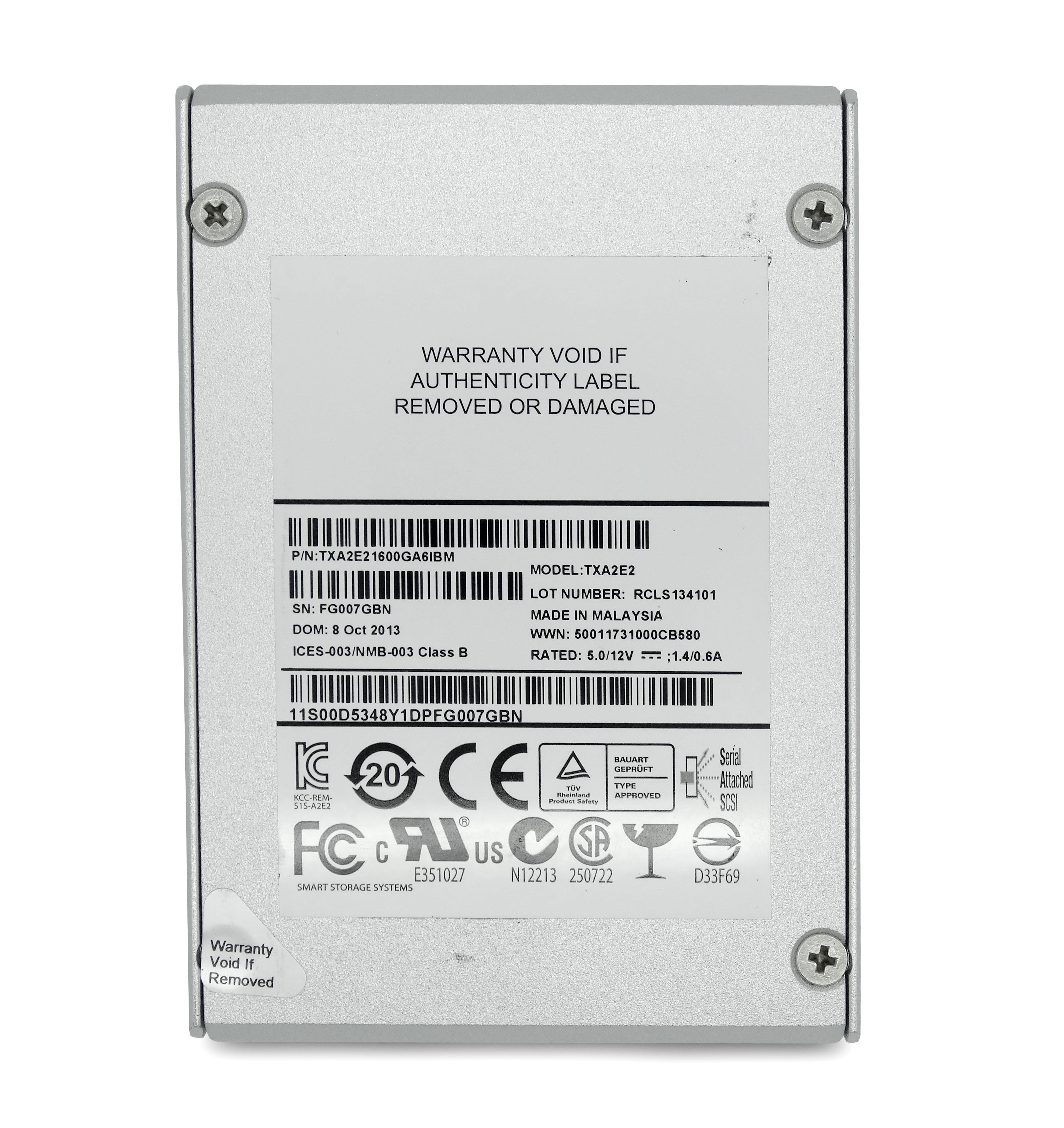 IBM 1.6TB 6Gbps SAS 2.5'' Solid State Drive SSD (TXA2E21600GA6IBM)
