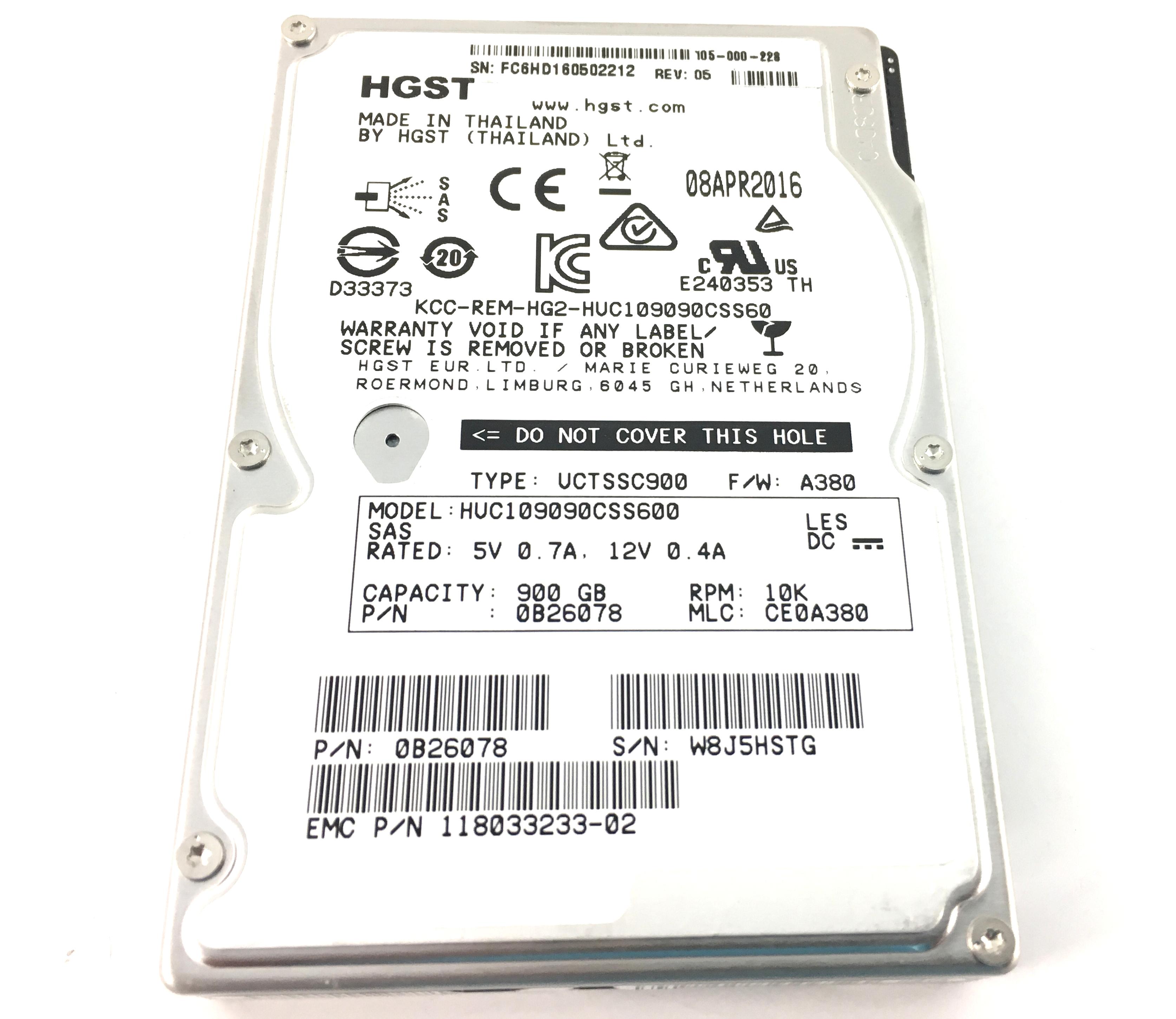 HGST 900GB 10K 6GBPS SAS 2.5'' HARD DRIVE (HUC109090CSS600)