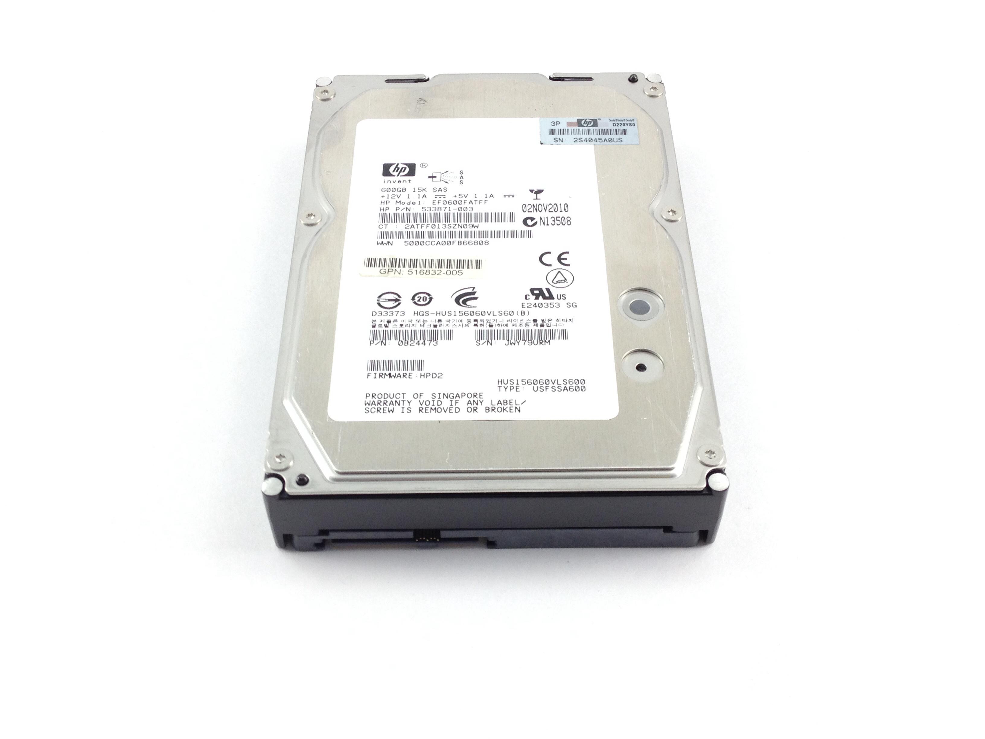 HP 600GB 15K 6Gbps Dual Port SAS 3.5'' Hard Drive (533871-003)