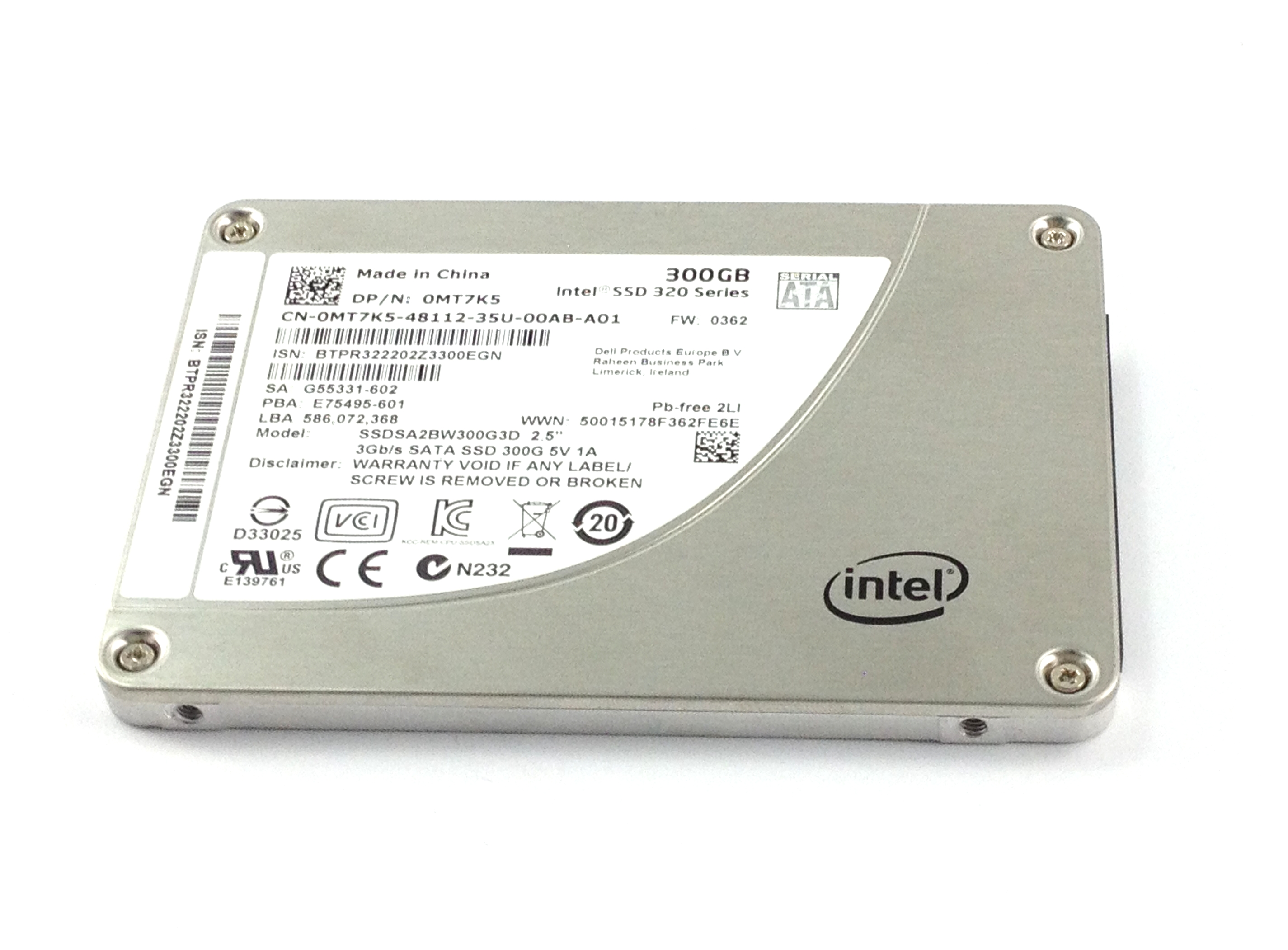 Dell Intel SSD 300GB 3Gbps SATA 2.5'' Solid State Drive (MT7K5)