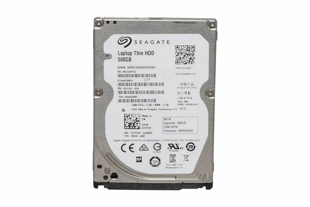 DELL SEAGATE 500GB 7.2K SATA  2.5'' LAPTOP THIN HARD DRIVE (7P79P)