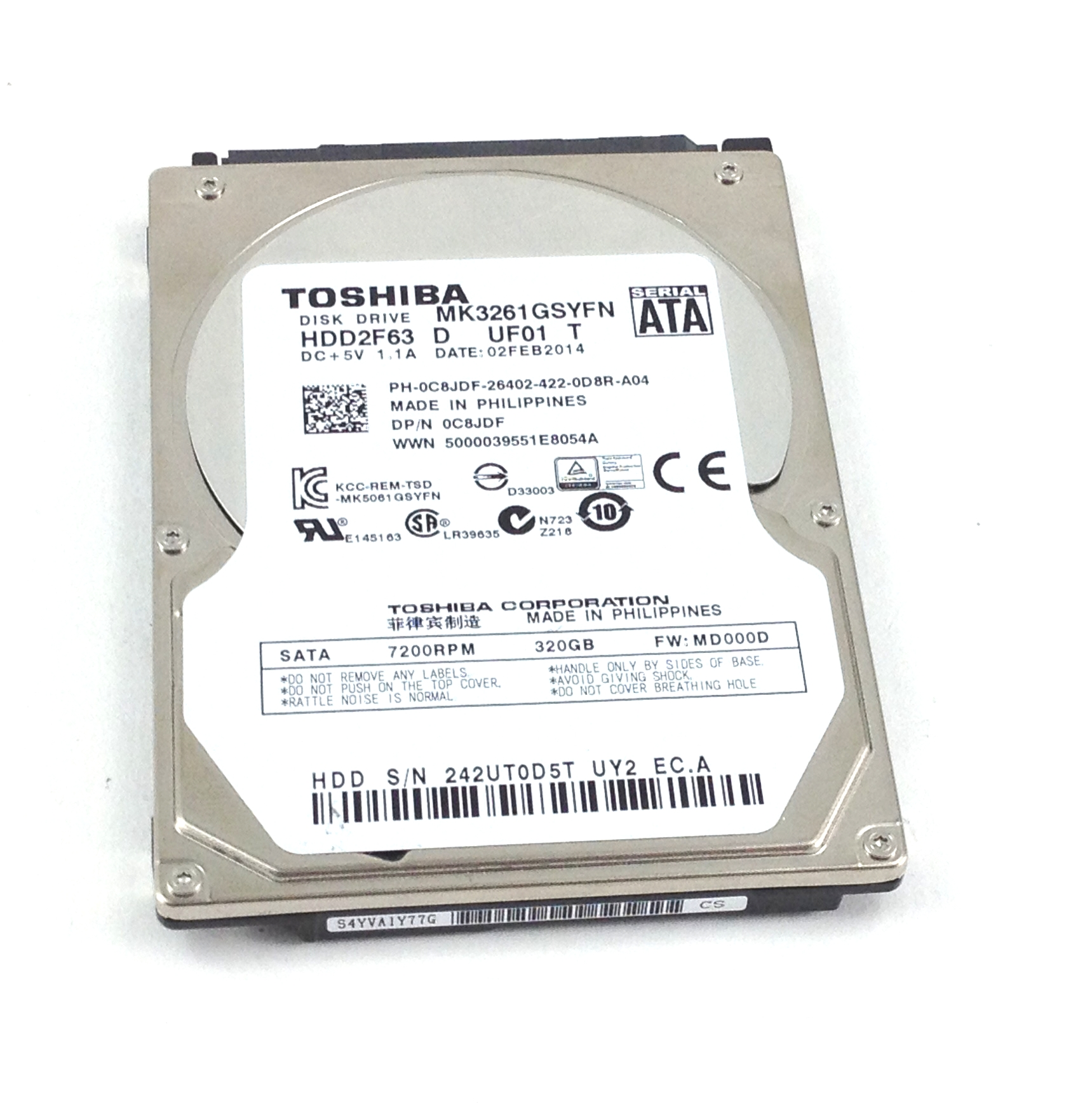 Dell  2.5''SATA 320GB 7200 Toshiba Laptop Hard Drive Stu (C8JDF)