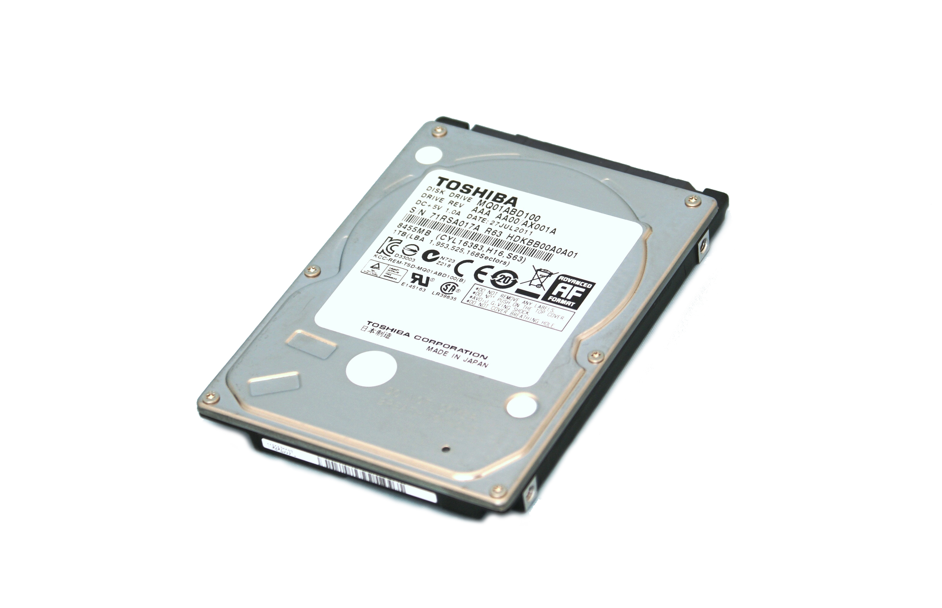 TOSHIBA  500GB 5400 RPM  2.5'' SATA LAPTOP HARD DRIVE (MQ01ABD050)
