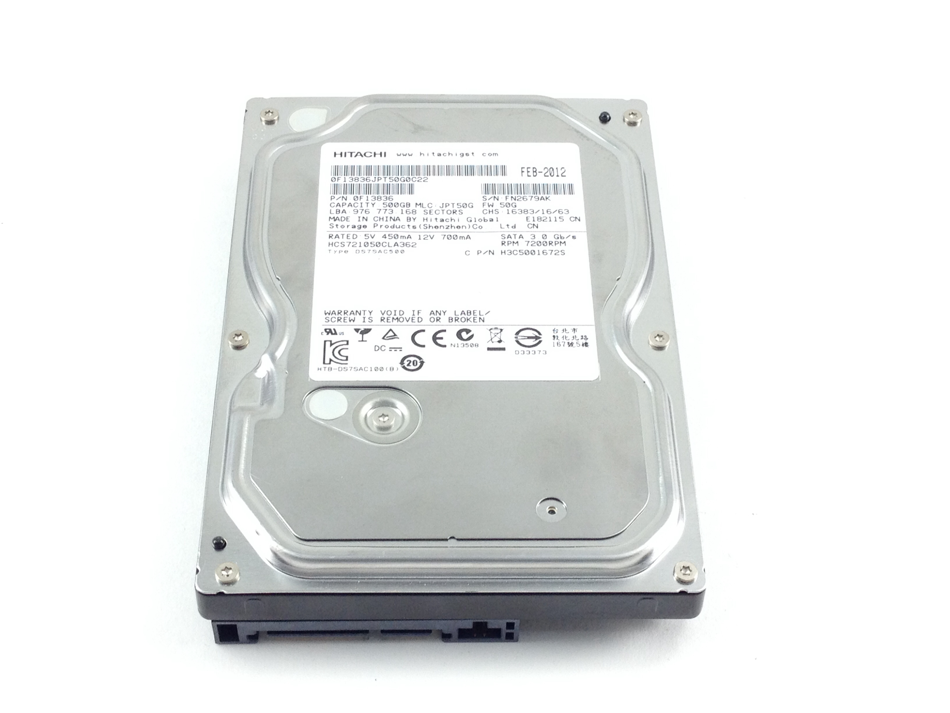 HITACHI 500GB 7.2K SATA 3.5'' HARD DRIVE (0F13836)