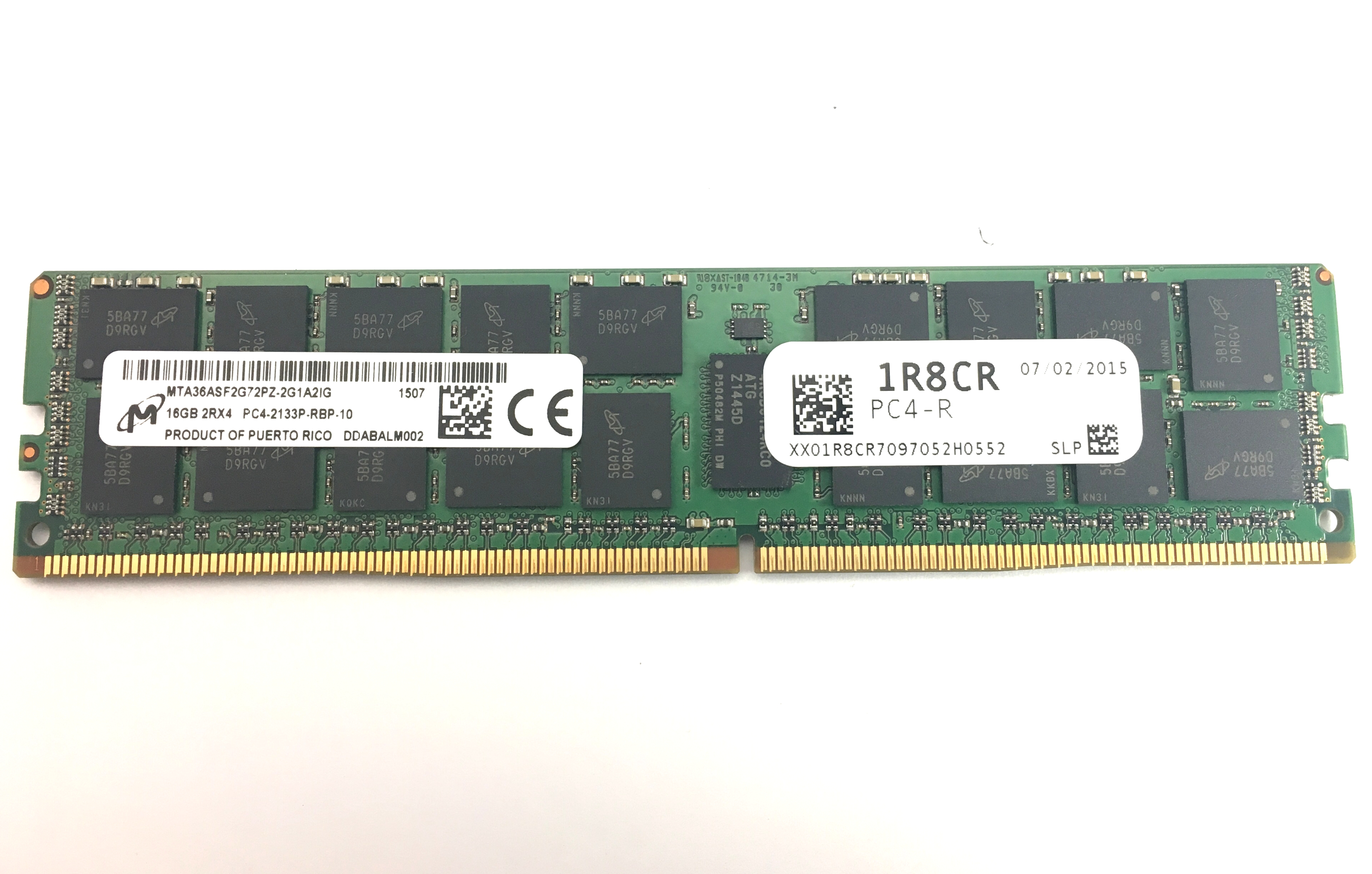 MICRON 16GB 2RX4 PC4-2133P DDR4-17000P ECC REGISTERED MEMORY (MTA36ASF2G72PZ-2G1A2IG)