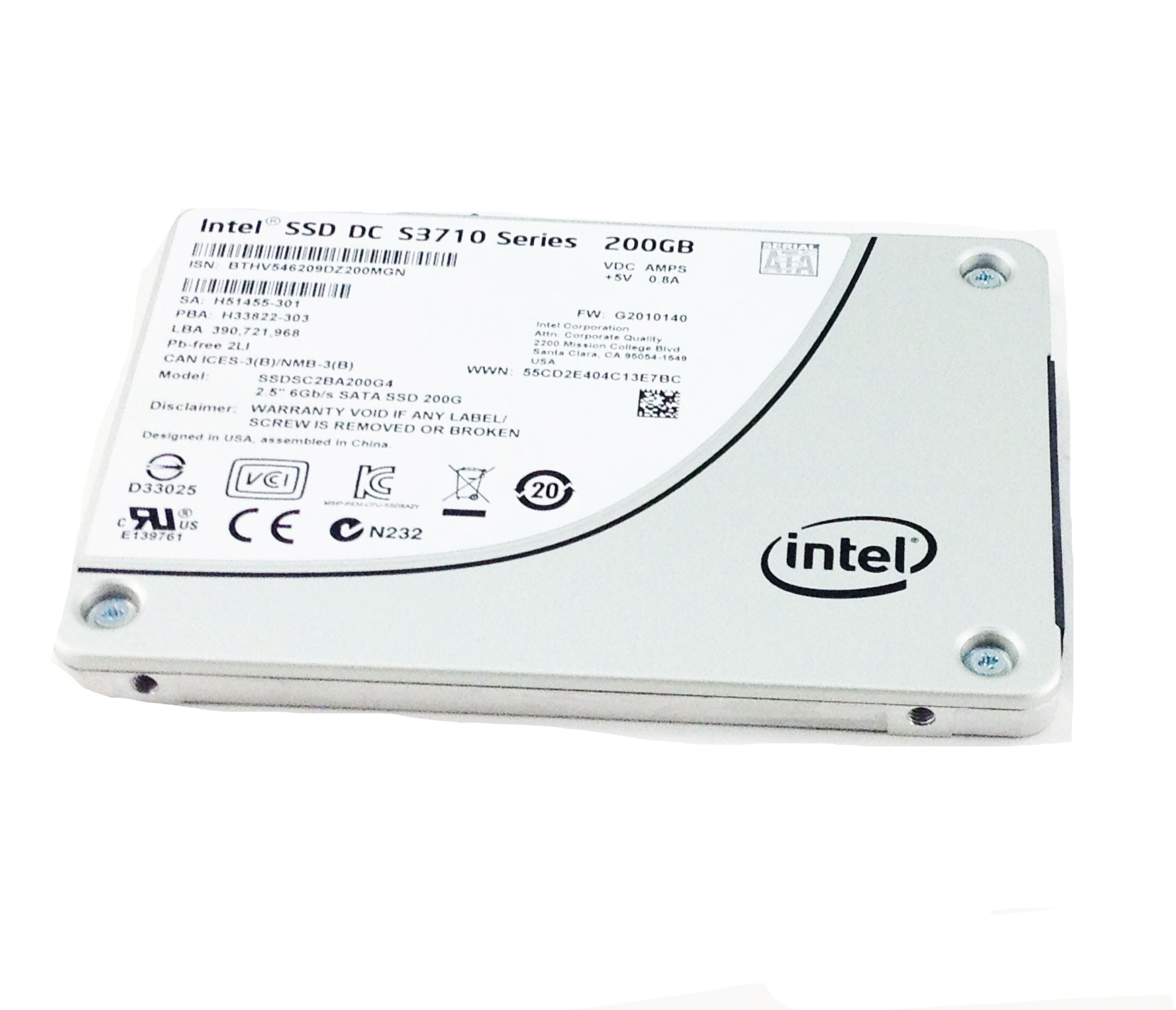 INTEL DC S3710 SERIES 200GB 6GBPS MLC SATA 2.5'' SOLID STATE DRIVE SSD (SSDSC2BA200G4)