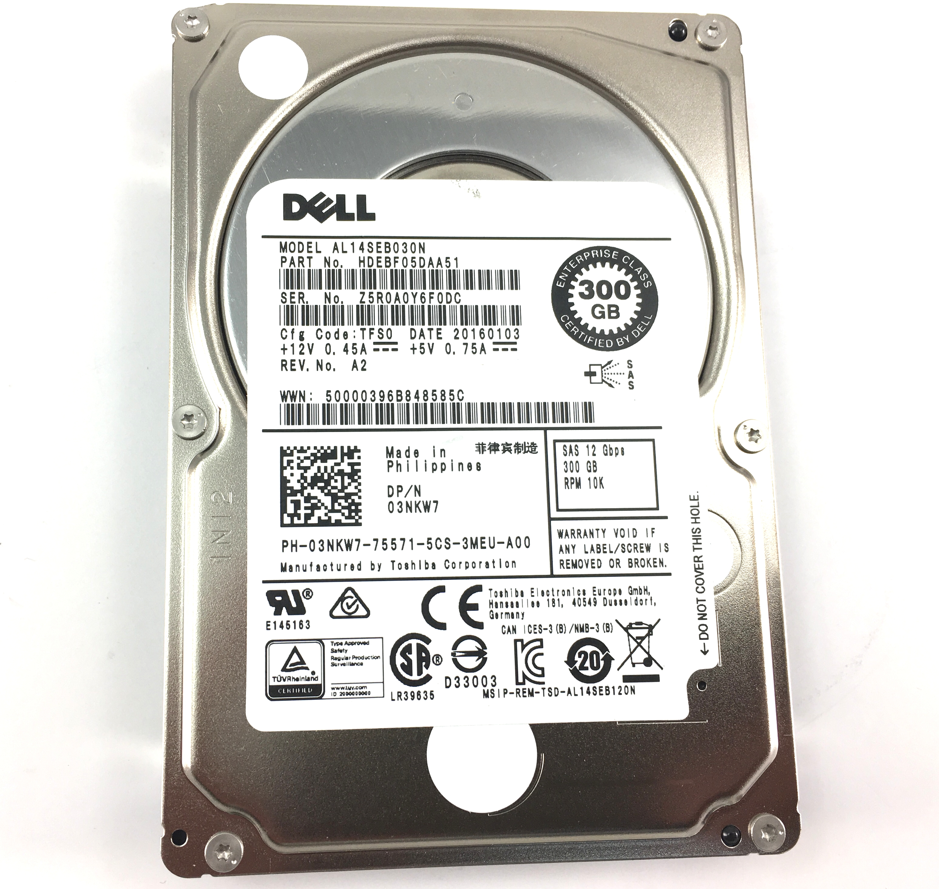 Dell Toshiba 300GB 10K 12Gbps SAS SFF 2.5'' HDD (3NKW7)