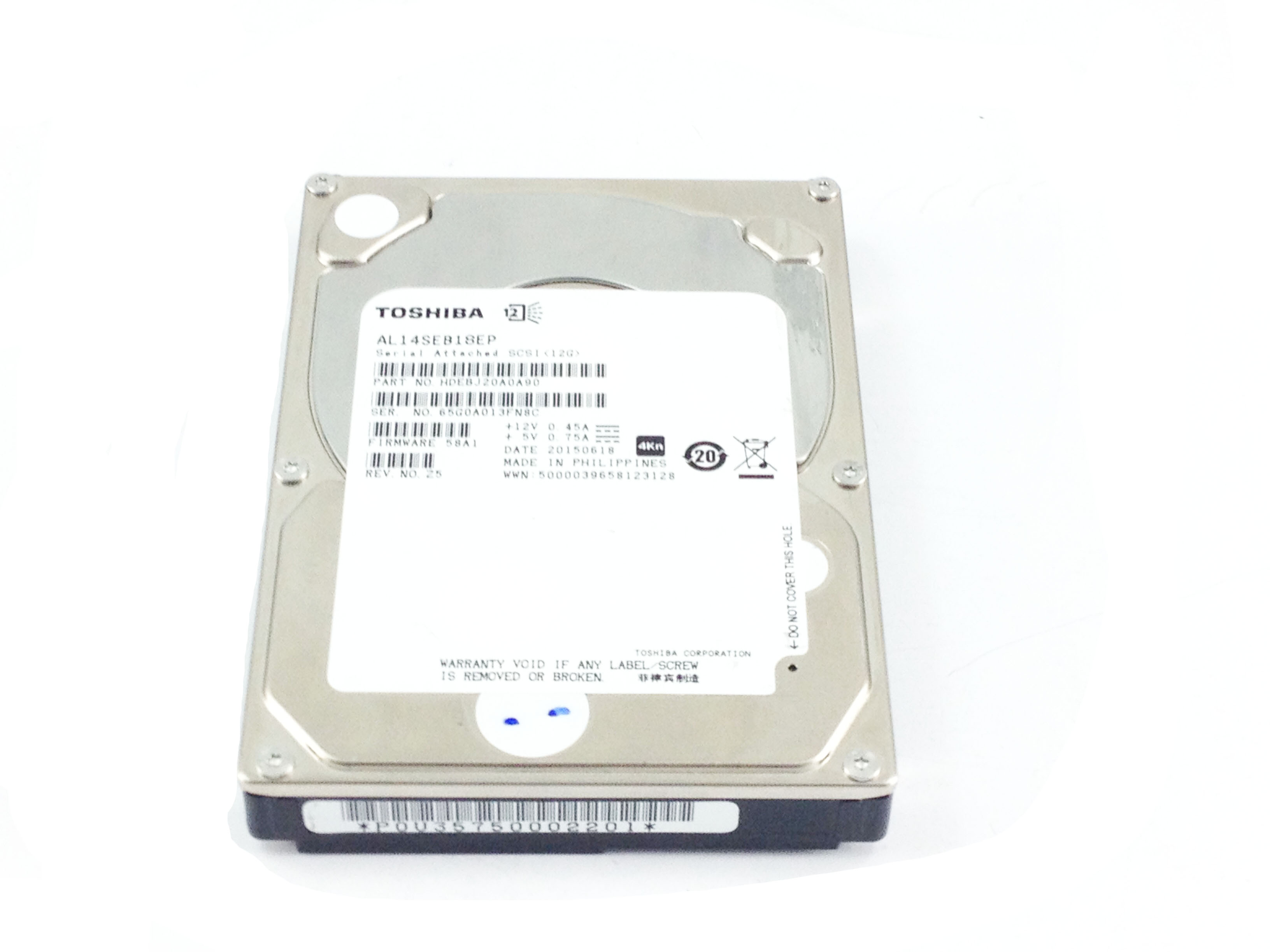 Toshiba 1.8TB 10K 12Gbps SAS 2.5'' HDD Hard Drive (AL14SEB18EP)